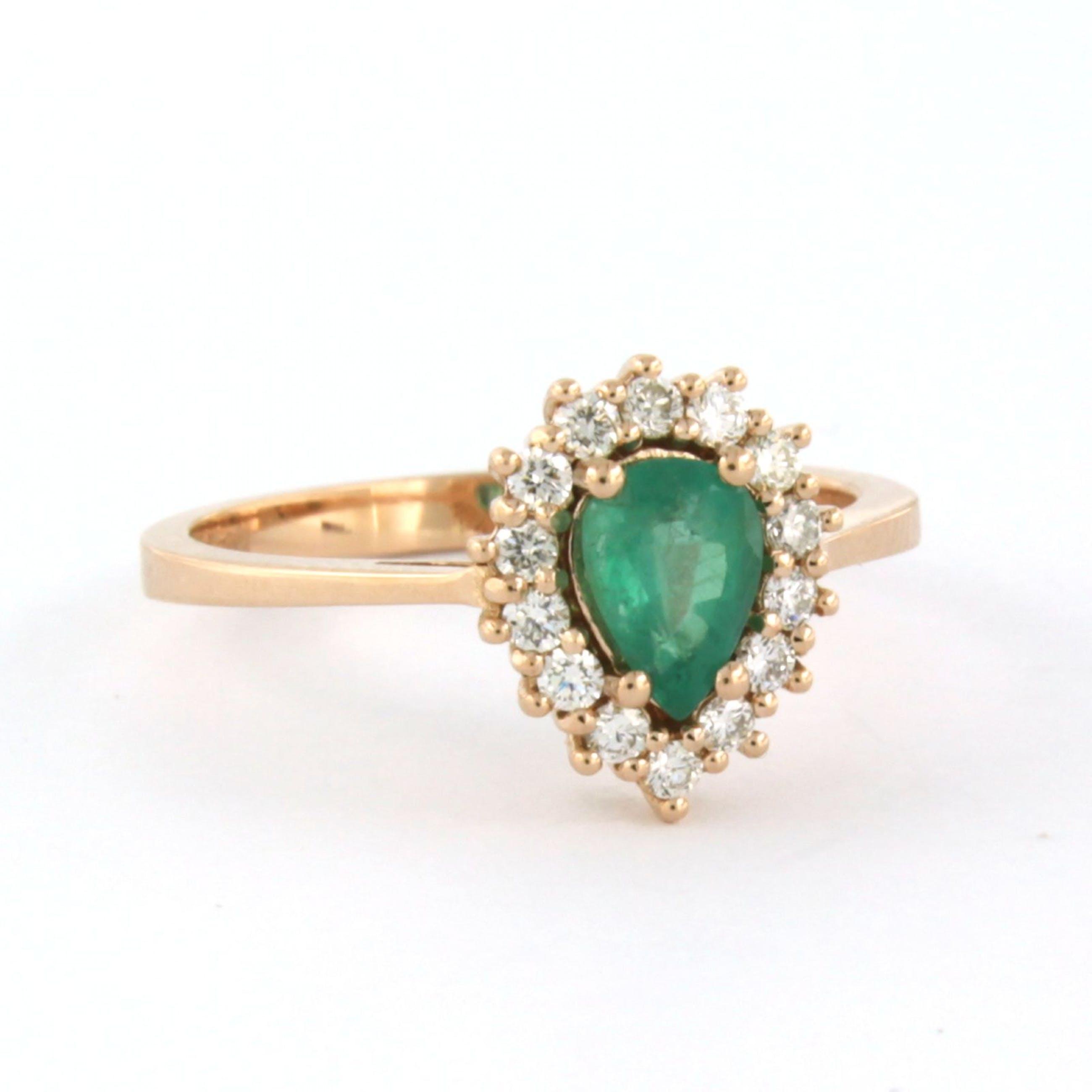 18k roodgouden entourage ring bezet met smaragd en briljant geslepen diamant kopen? Bied vanaf 540!