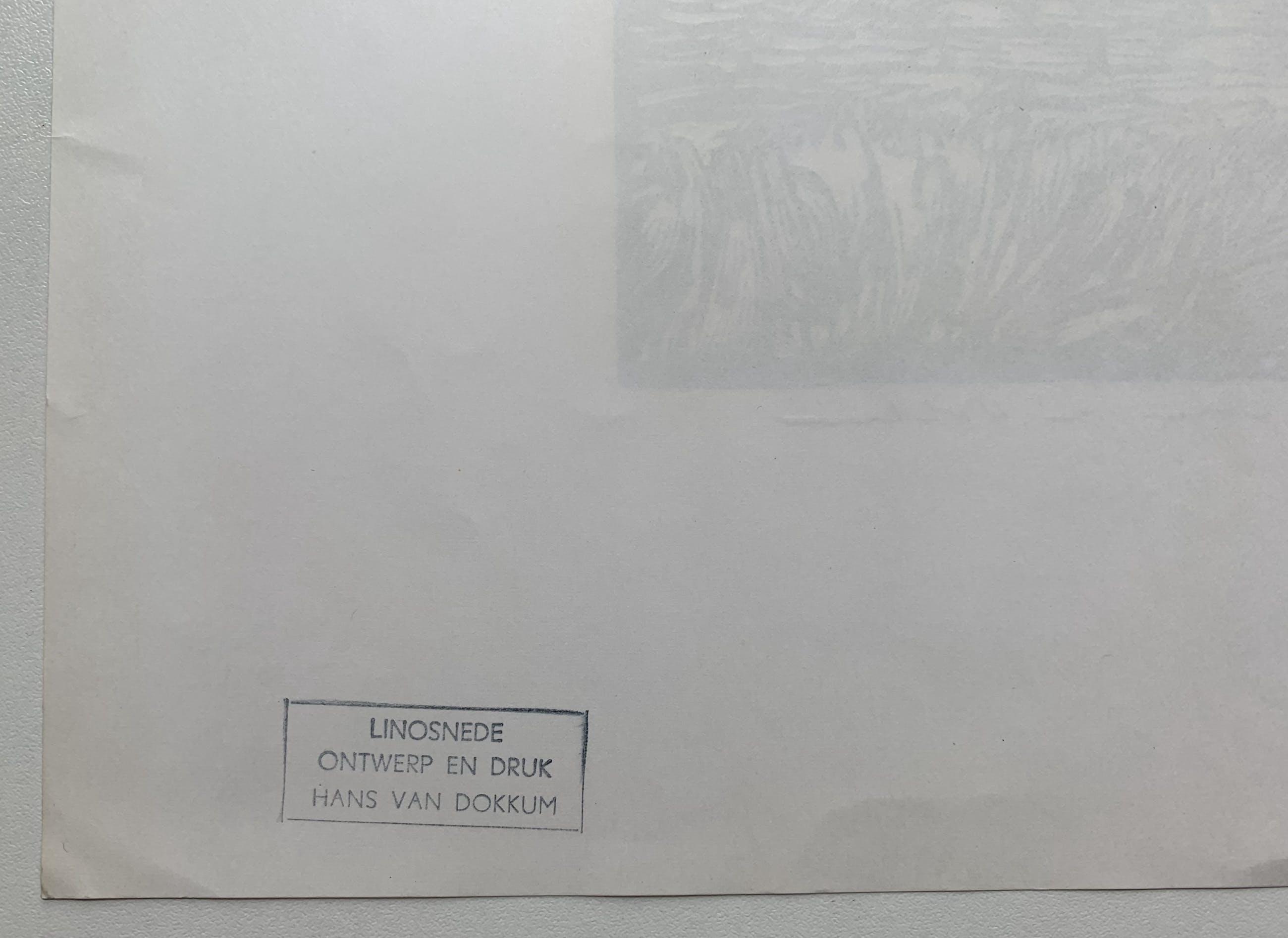 Hans van Dokkum - linosnede   'Huis in Toscane' kopen? Bied vanaf 43!