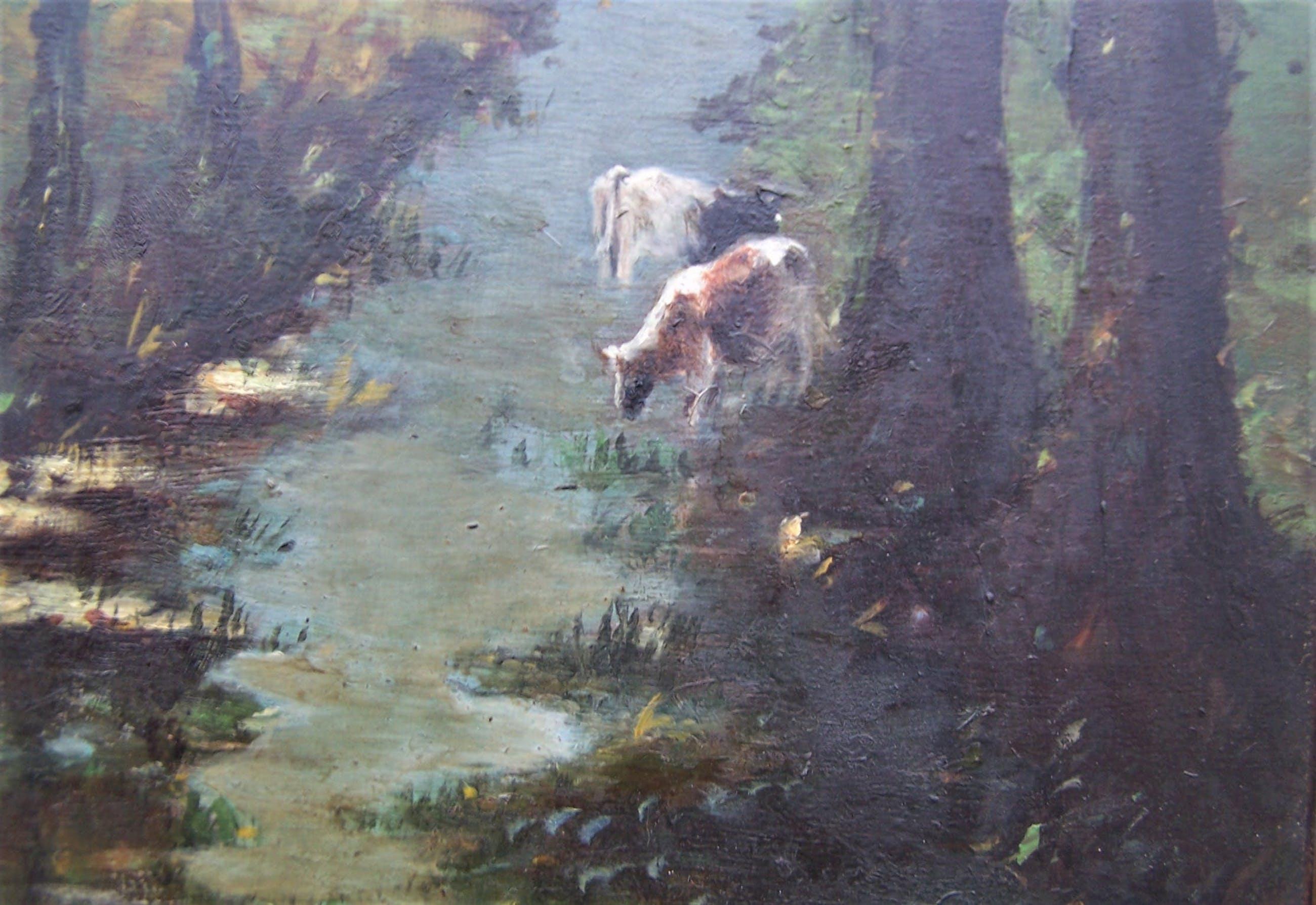 Theodorus Verstraaten - Landschap met beek en koeien kopen? Bied vanaf 60!