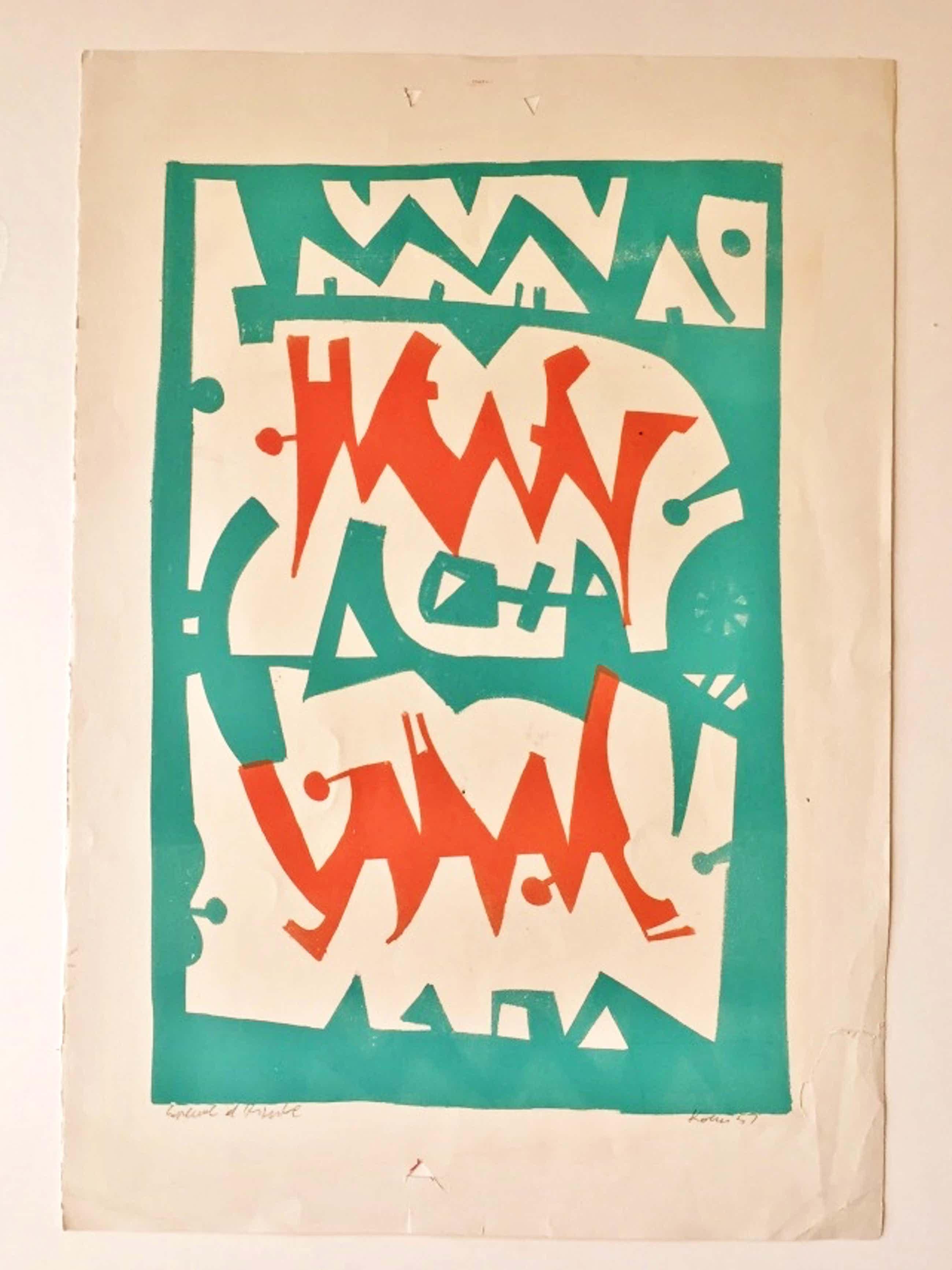 Sacha Kolin - Linosnede Abstract kopen? Bied vanaf 40!