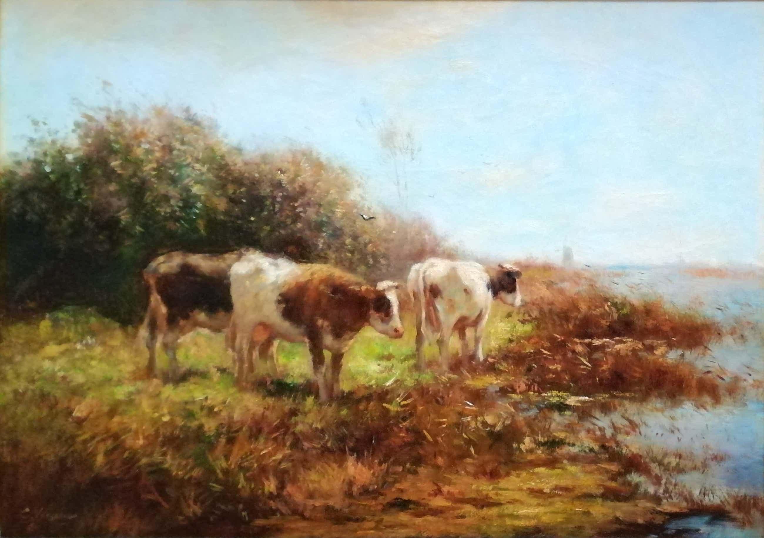Cor Bouter - Drie koeien aan de waterkant. kopen? Bied vanaf 280!