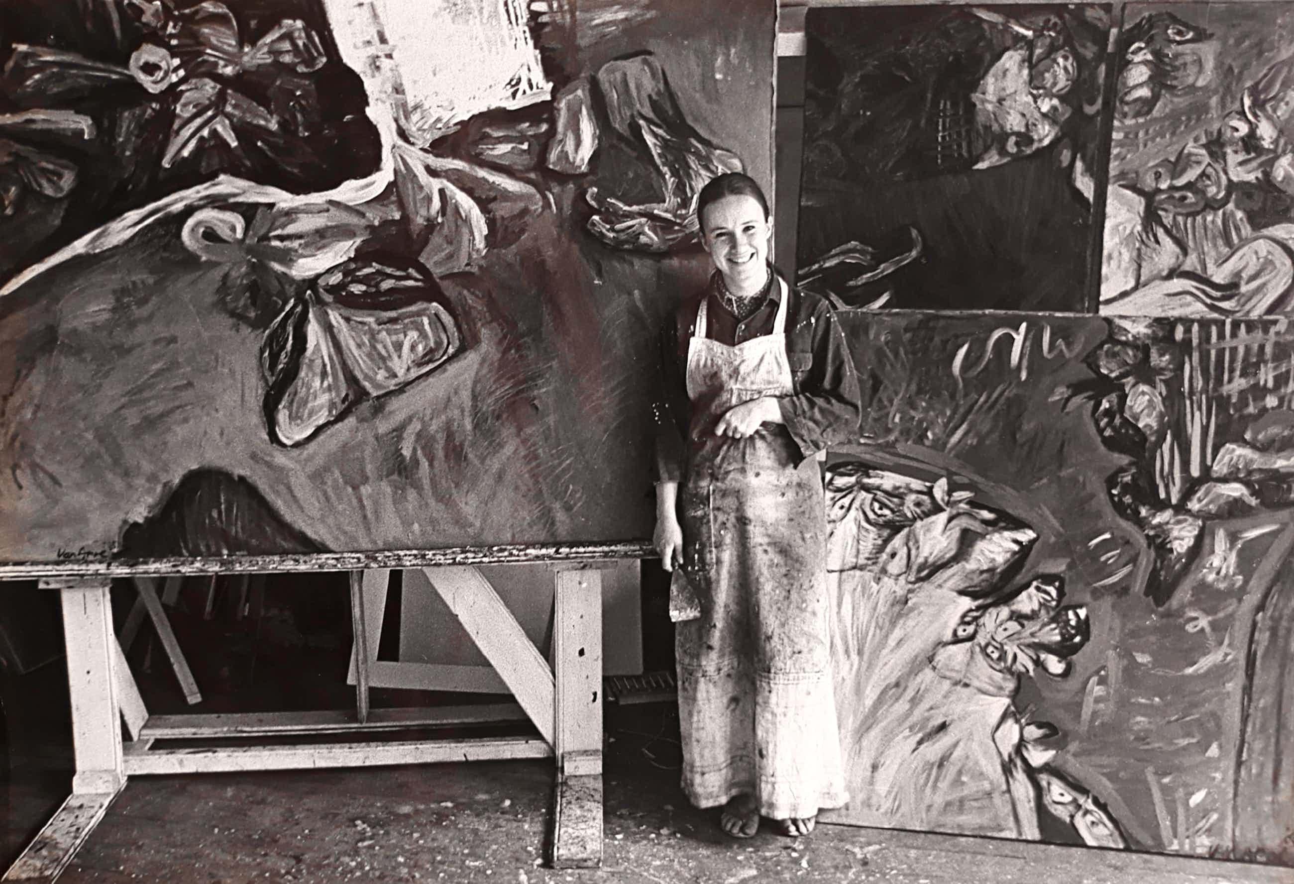 Johan van der Keuken - Yvonne Apol in haar atelier (1966), gelatinezilverdruk kopen? Bied vanaf 195!