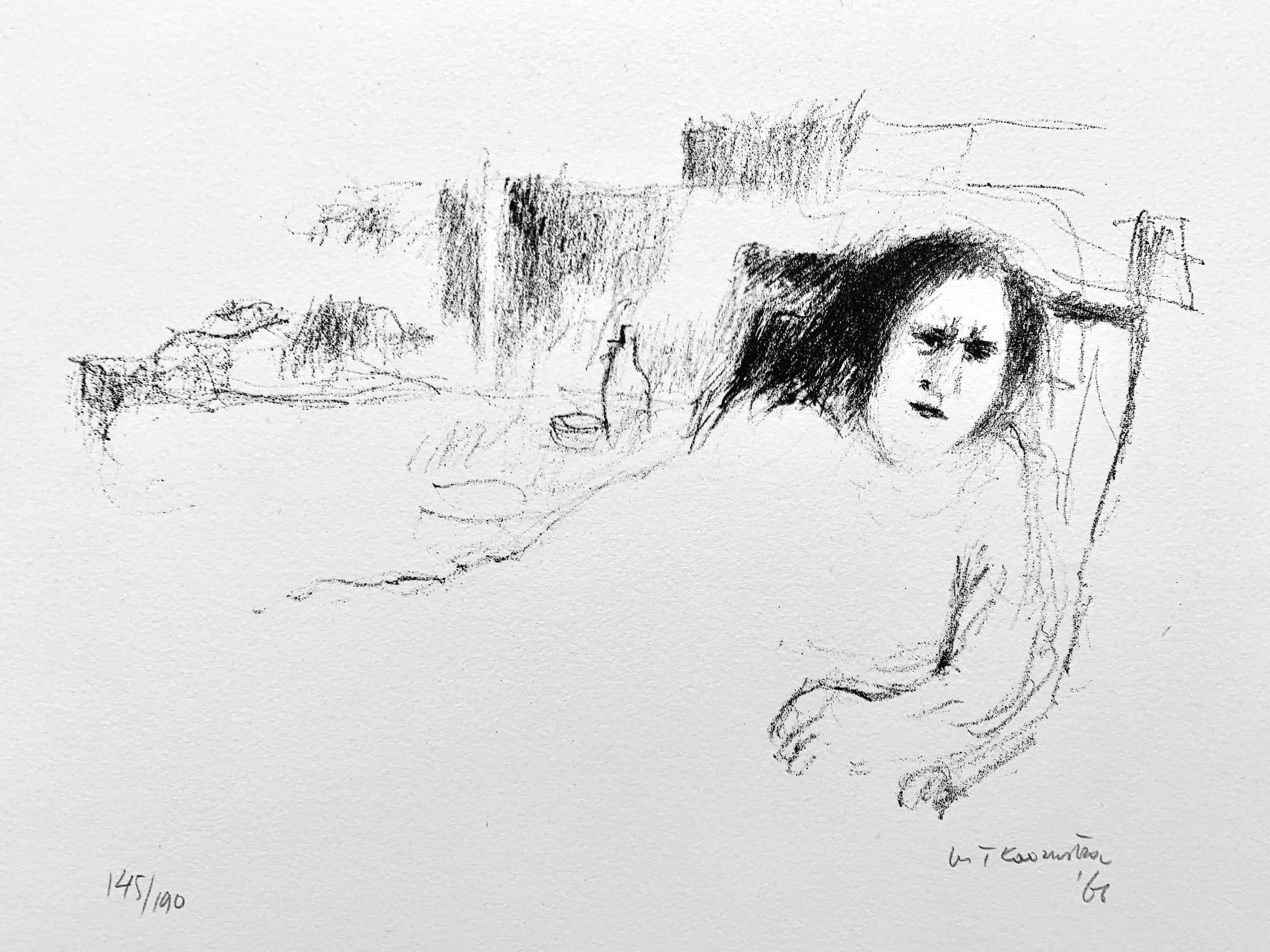 Metten Koornstra - litho - 'Vrouw in stoel' - 1966 (Prent 190 Serie 1) kopen? Bied vanaf 75!