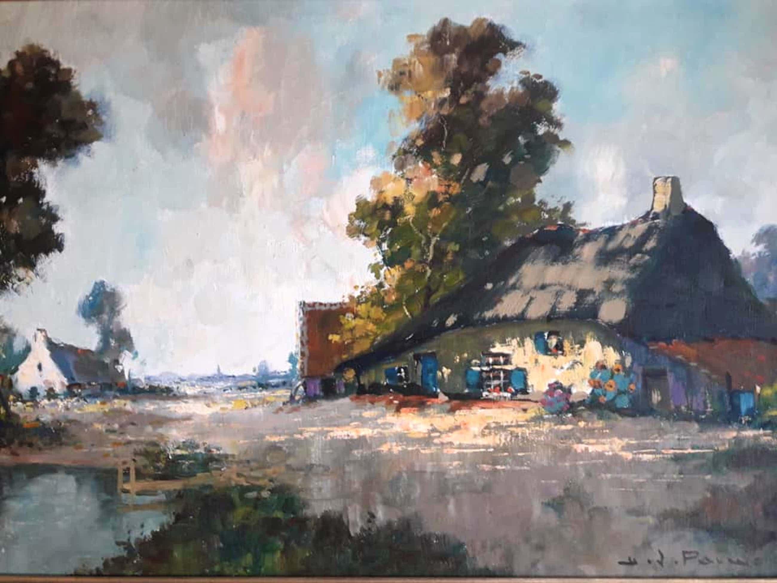 Henri Joseph Pauwels - Boerderij in landschap. kopen? Bied vanaf 149!