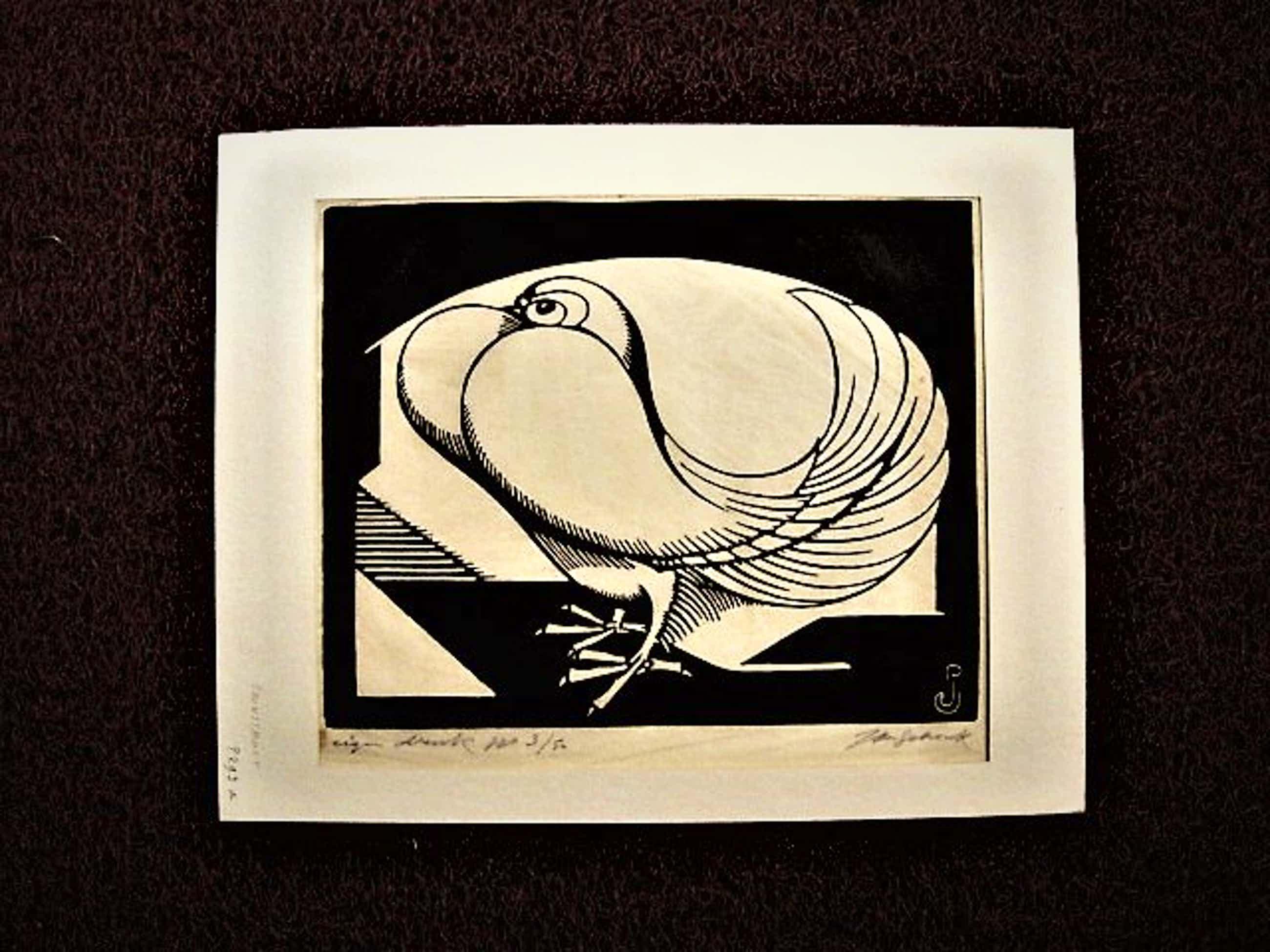 """Jan Schonk - Mooie eigen druk (50 ex) Art Deco Houtsnede """"Pauwestaart"""" potloodgesigneerd kopen? Bied vanaf 40!"""