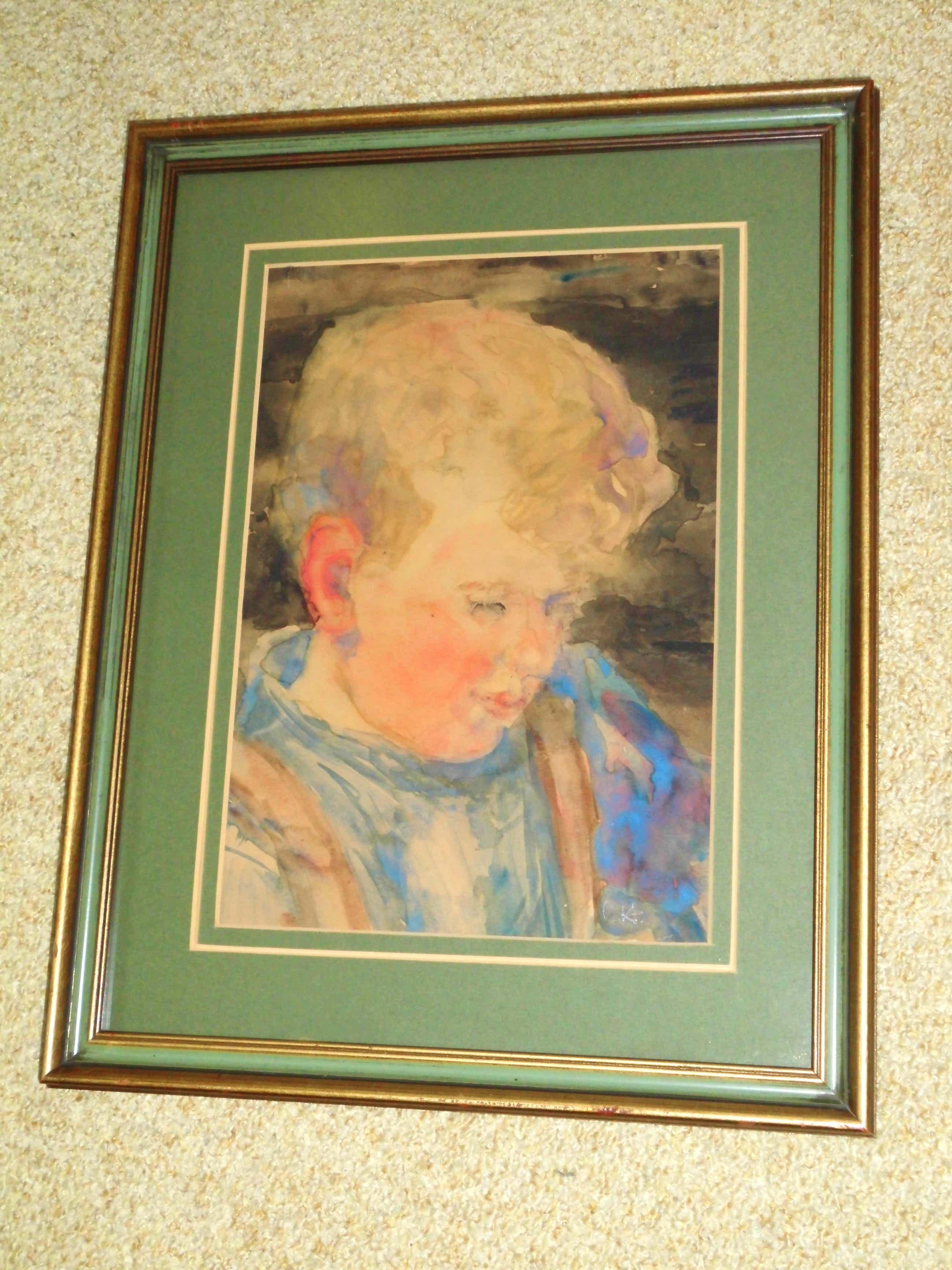 Cornelia Hioolen - Aquarel - Jongensportret kopen? Bied vanaf 50!