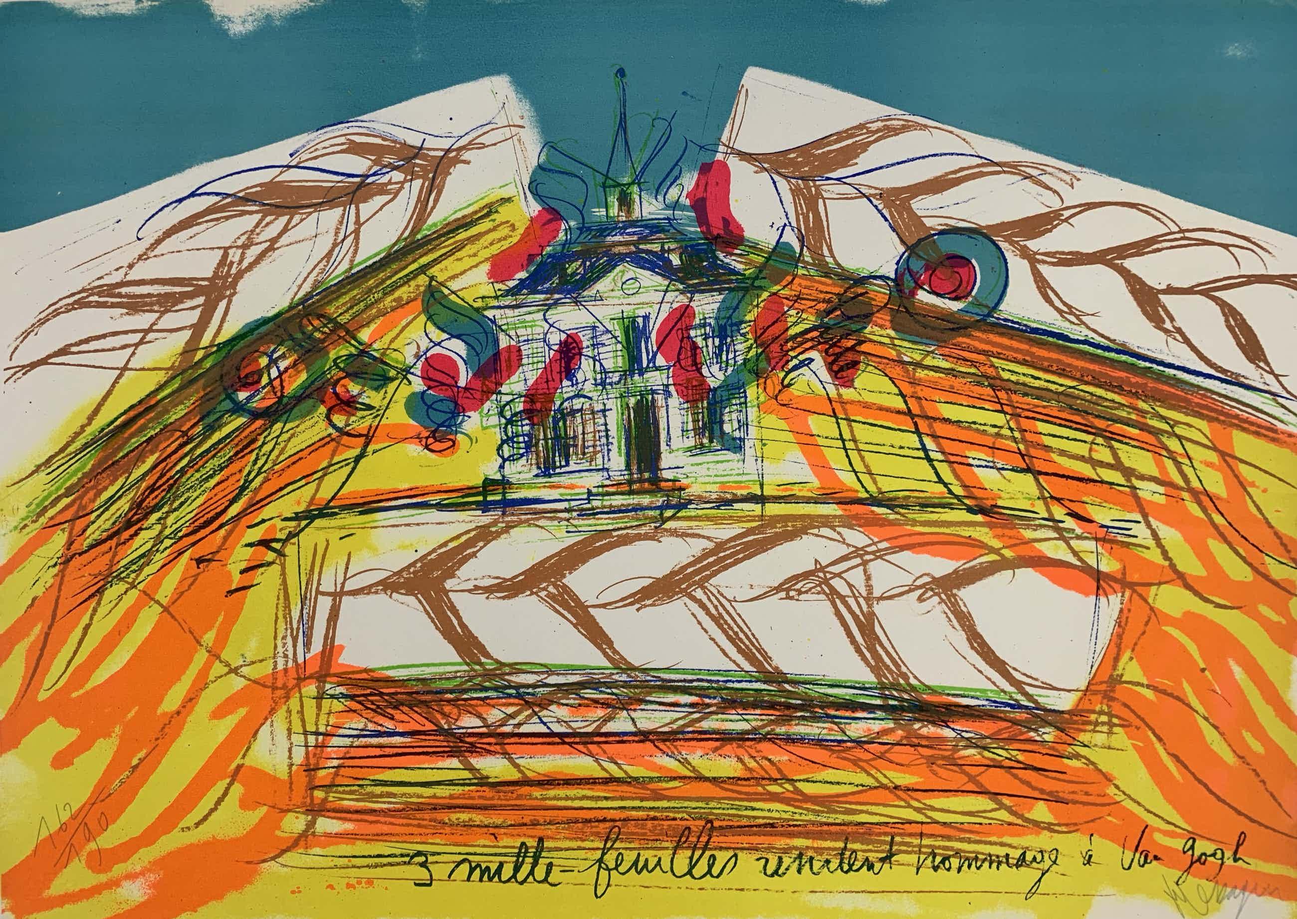 Jean Messagier - kleurenlitho in 5 kleuren - 'Hommage à van Gogh' - 1979 (Prent 190) Serie 12A kopen? Bied vanaf 50!