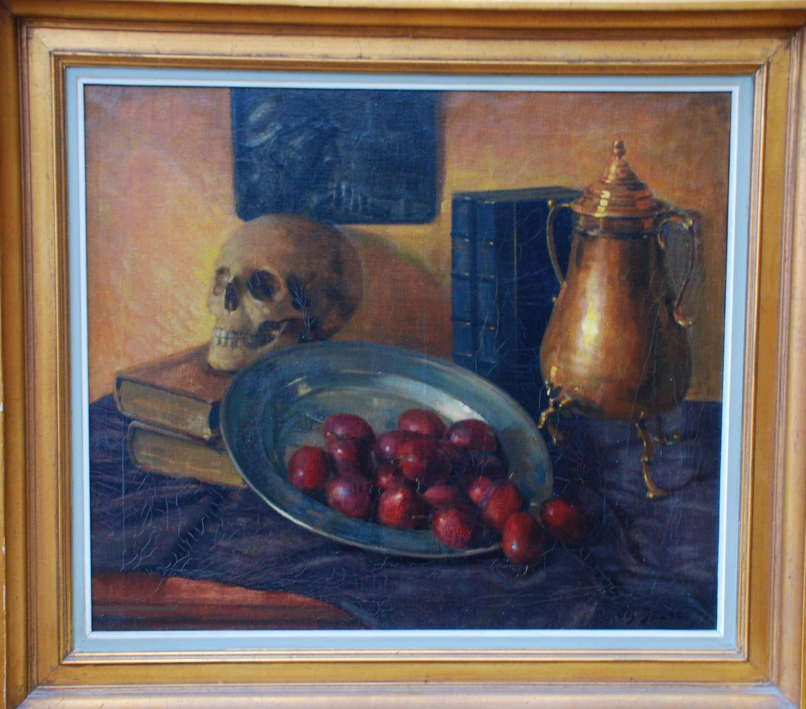Jos Delaet - Stilleven doodshoofd met fruitschaal en kan kopen? Bied vanaf 250!
