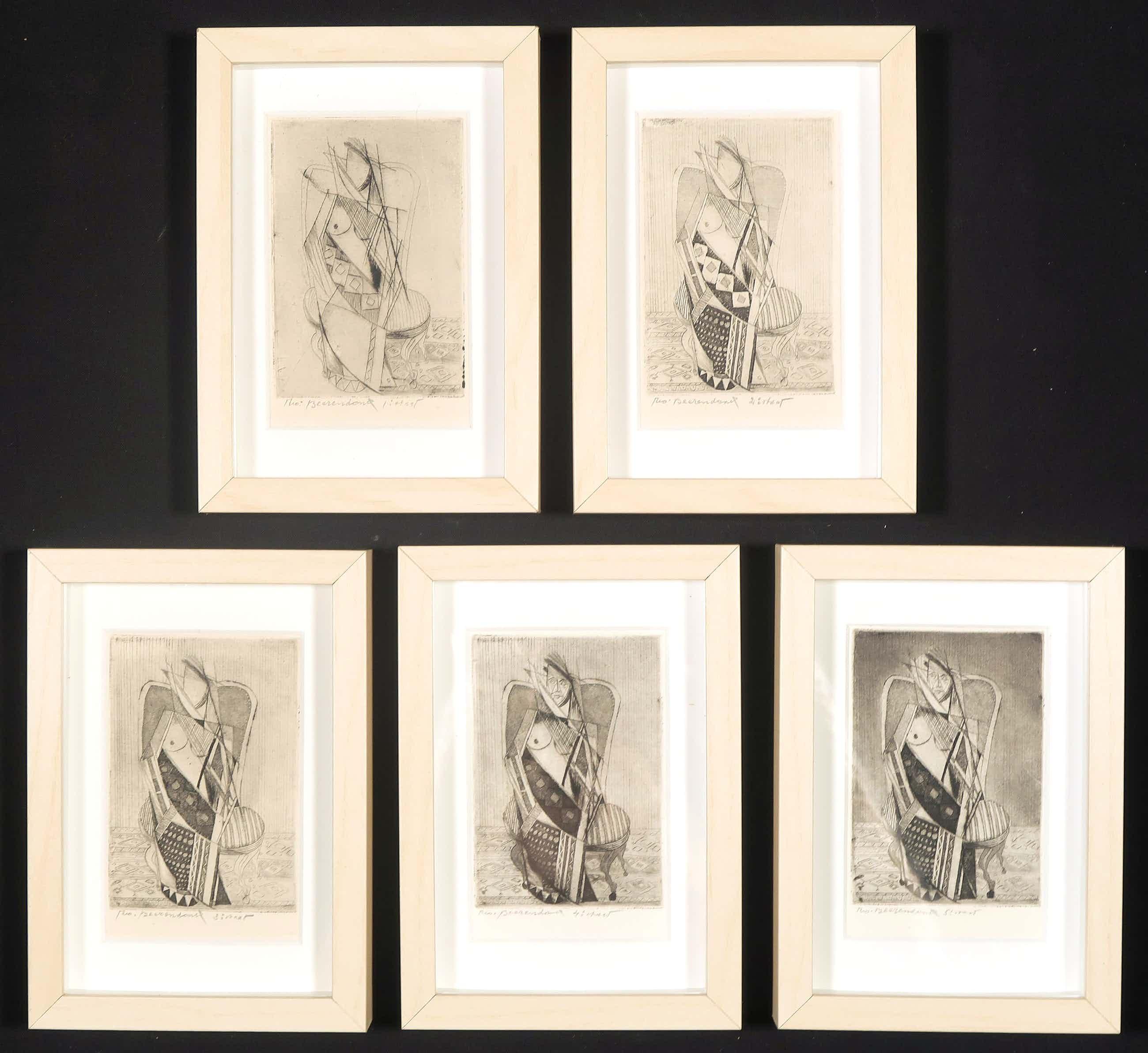 Theo Beerendonk - 5 etsen in kubistische stijl - Ingelijst kopen? Bied vanaf 170!