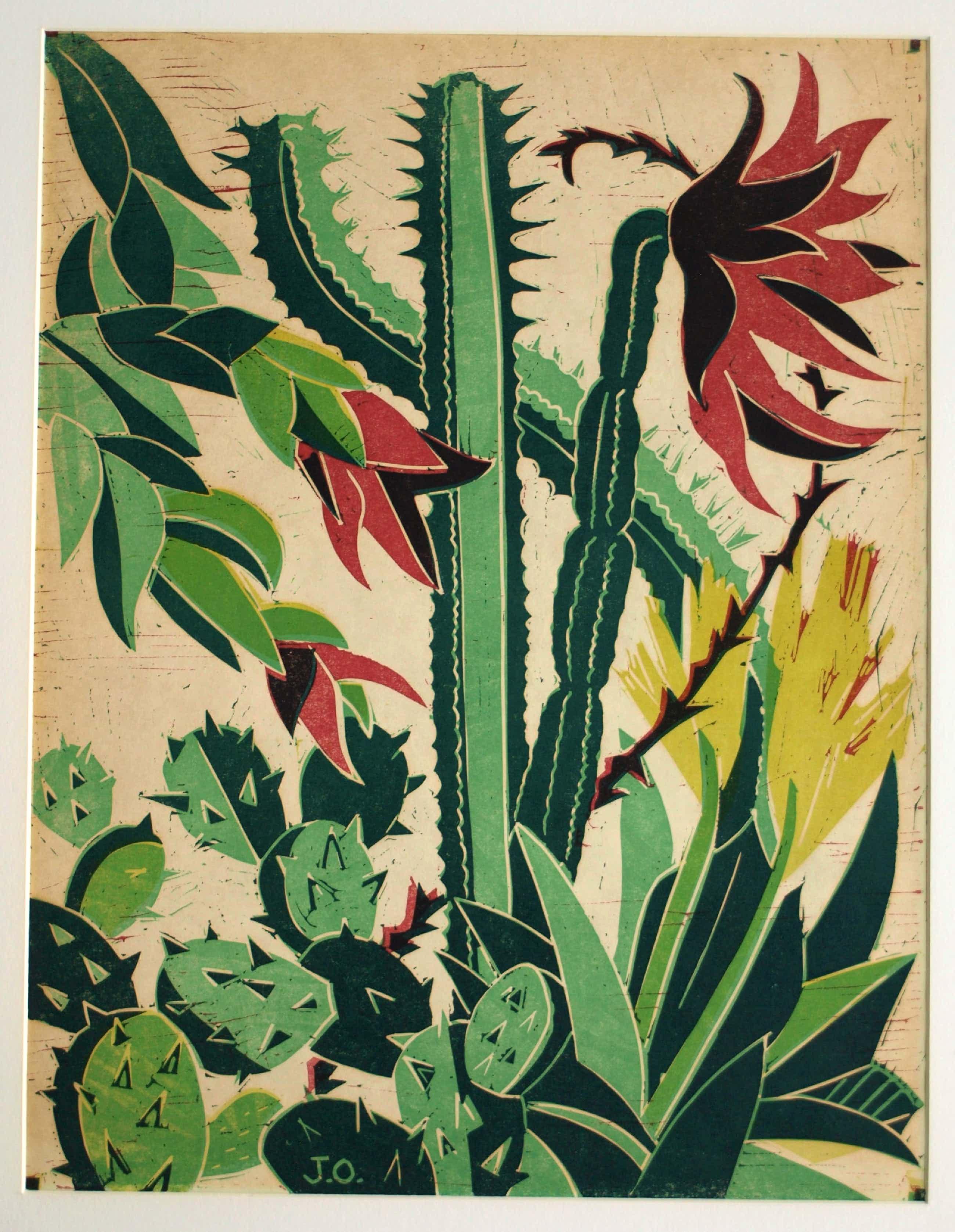 Jeanne Bieruma Oosting - Ingelijste linoleumsnede , 'Exotische tuin' – 1957 kopen? Bied vanaf 75!