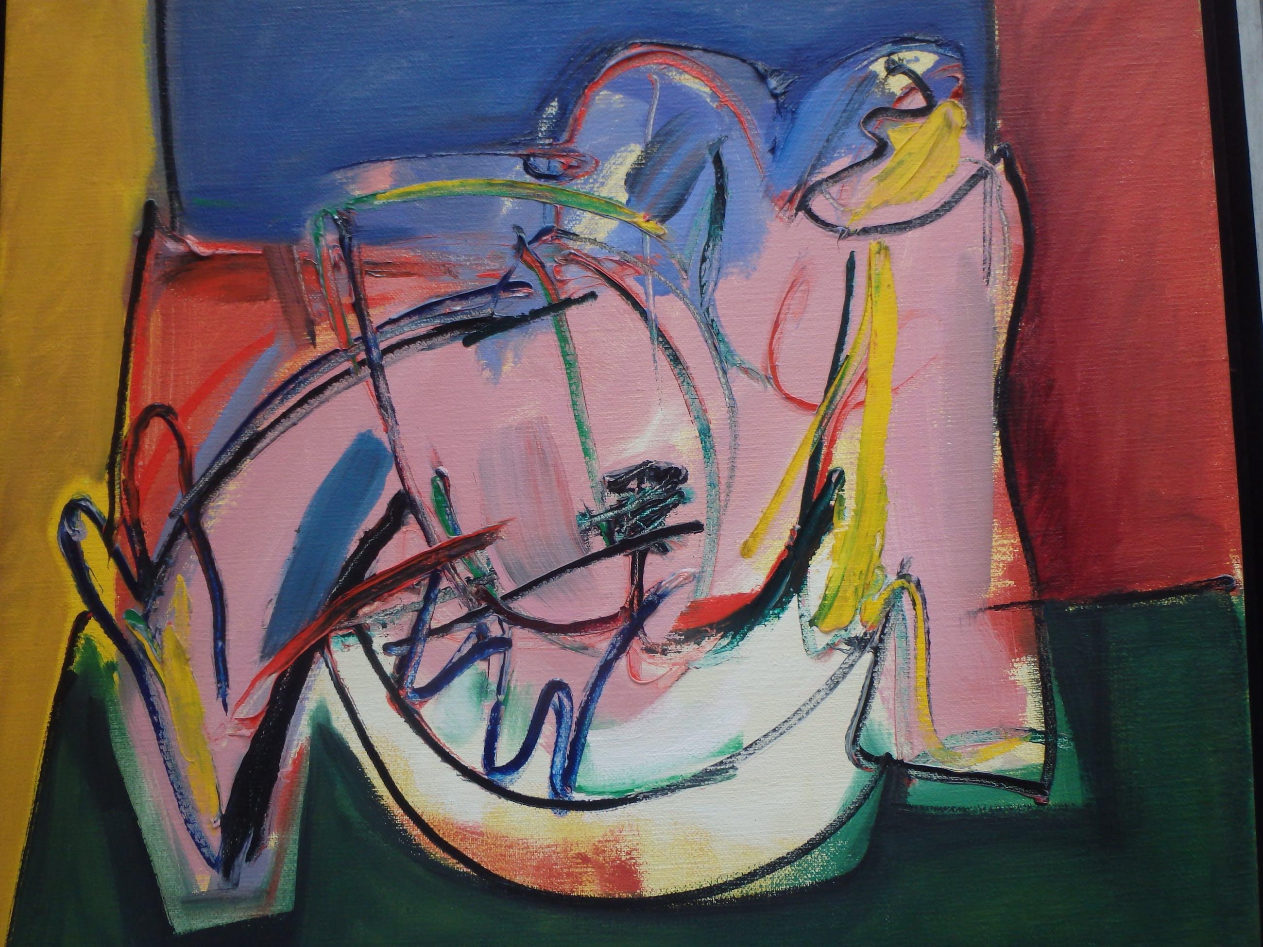 Simon Kramer - 2 figuren abstraherend kopen? Bied vanaf 160!