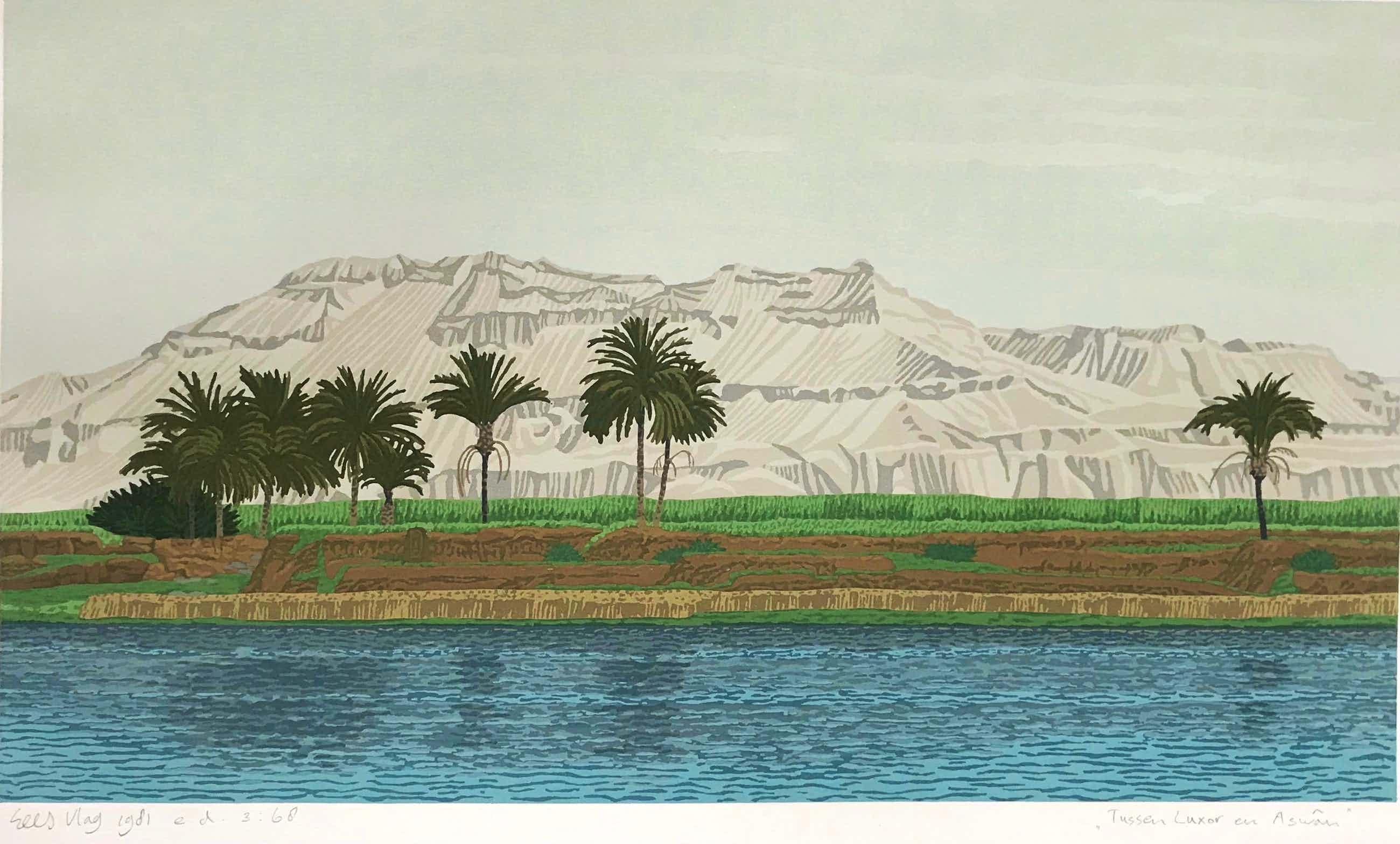 Sees Vlag - Gesigneerde zeefdruk - 'Tussen Luxor en Aswan' - 1981 - 3/68 kopen? Bied vanaf 75!