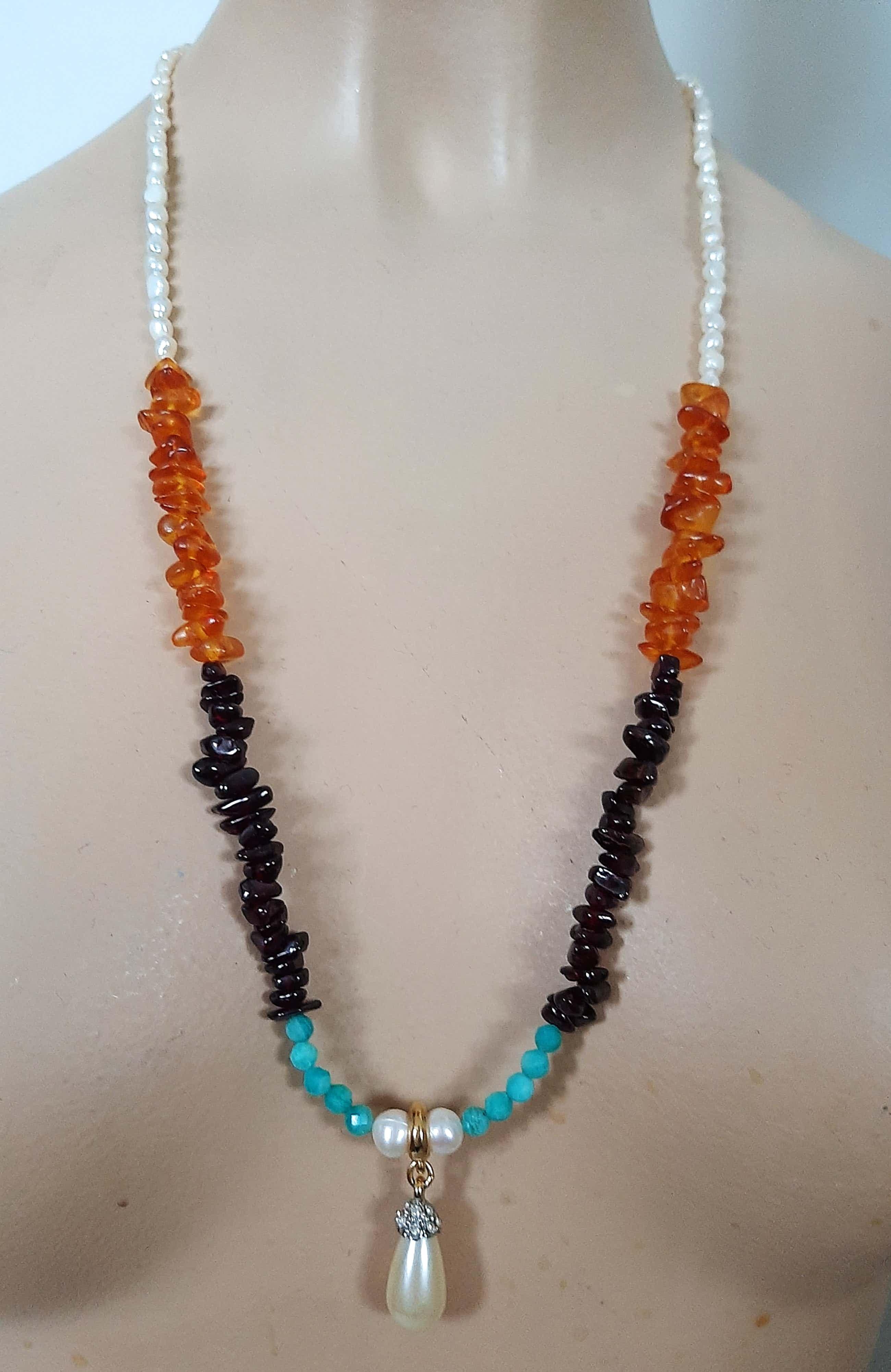 Vintage collier met echte Amber, Granet, Amazoniet, parel kopen? Bied vanaf 45!