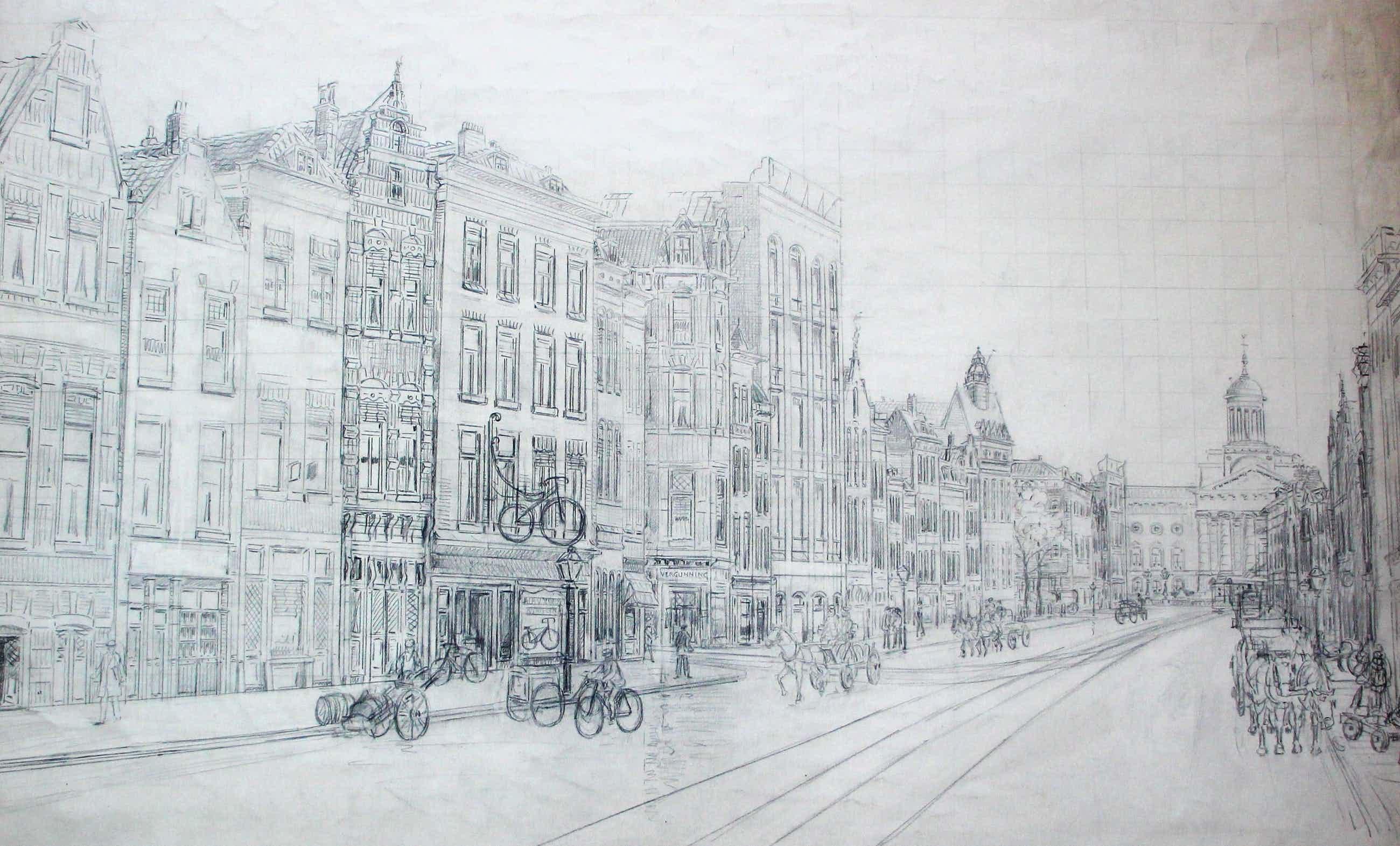 Eugene Rensburg - Grote potloodtekening: Gedempte botersloot - 1925 kopen? Bied vanaf 99!