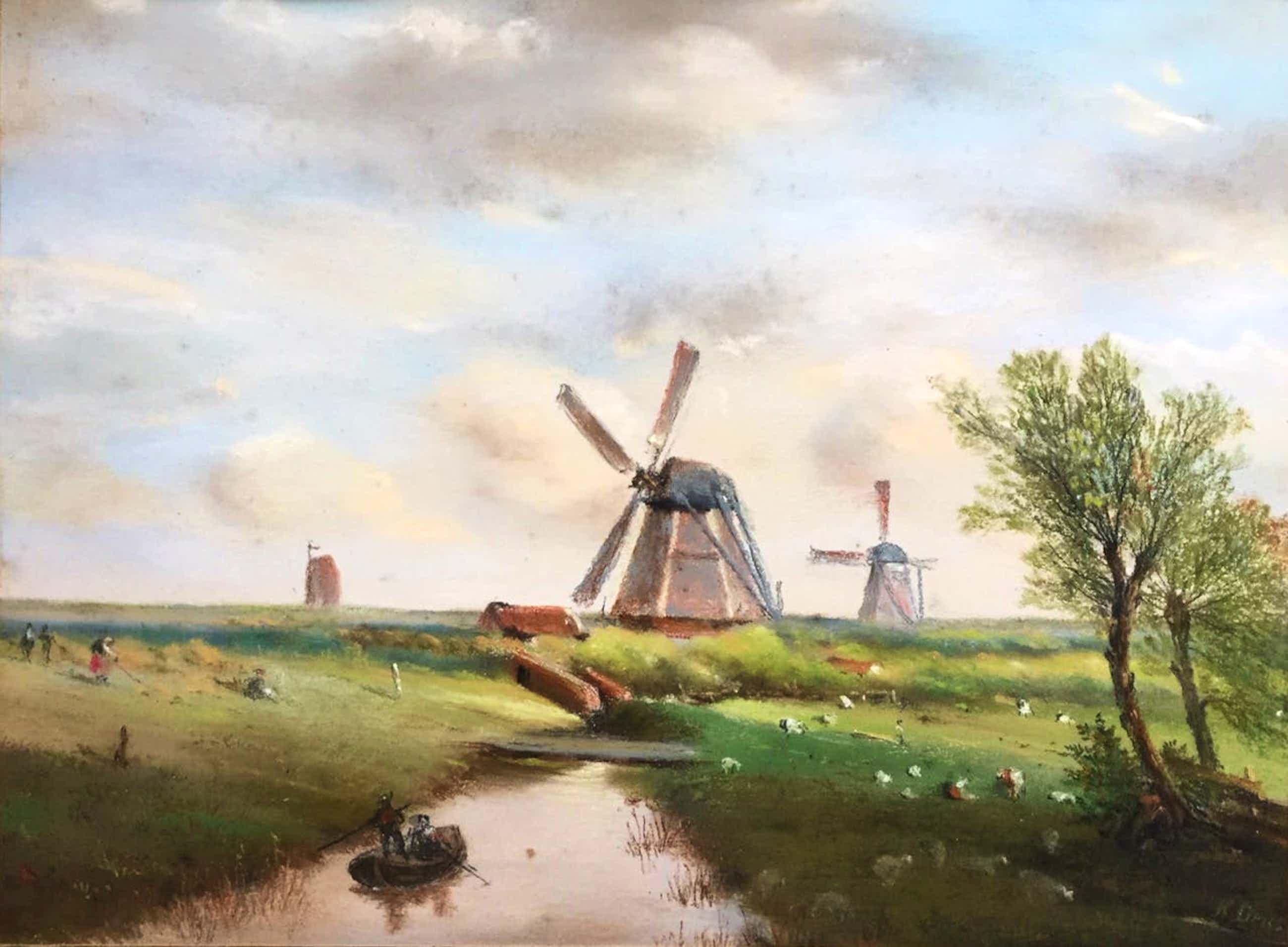 """Hermans Dens - """"Landschap bij een Rivier met Molen"""" kopen? Bied vanaf 20!"""