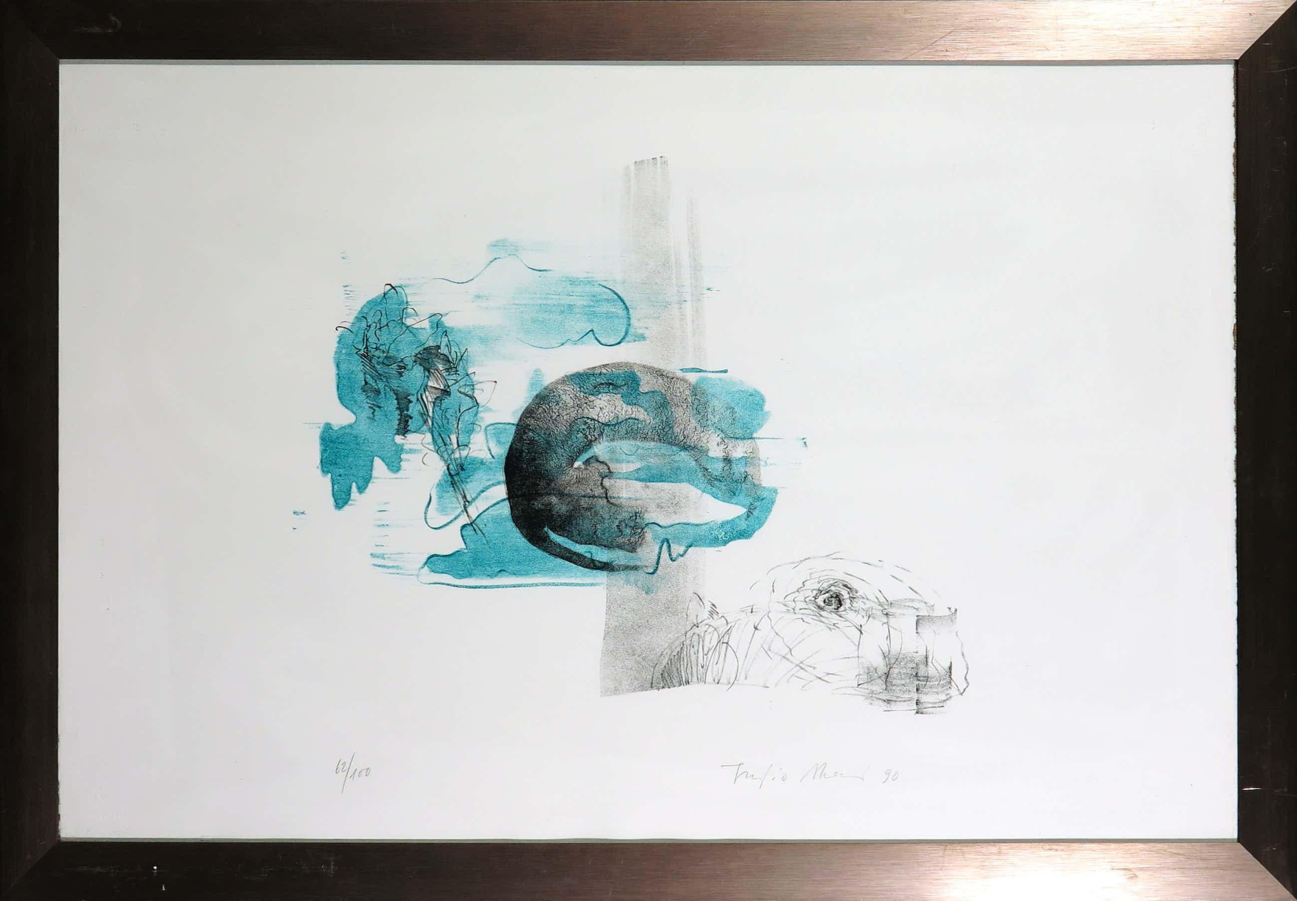 Fujio Akai - Litho, Z.T. Abstracte compositie - Ingelijst kopen? Bied vanaf 3!