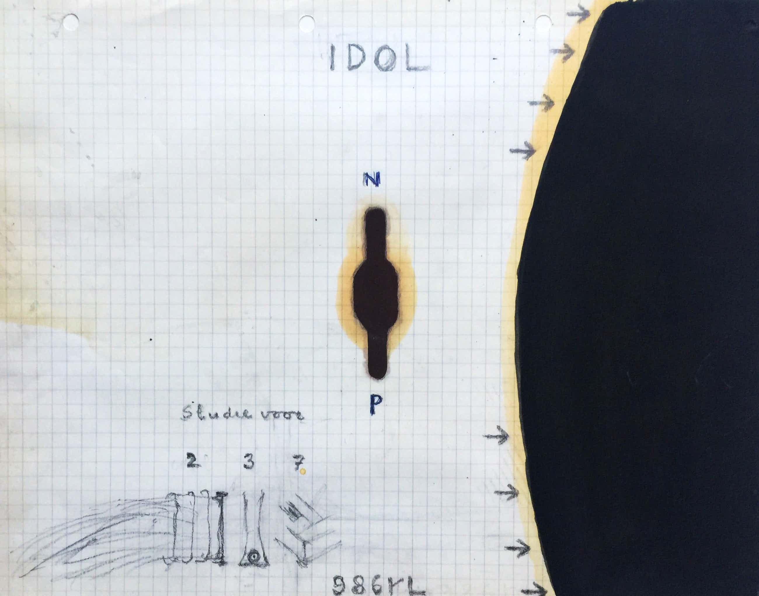 Reinier Lucassen - 'Idol' - 1986 - gemengde techniek op papier. kopen? Bied vanaf 280!