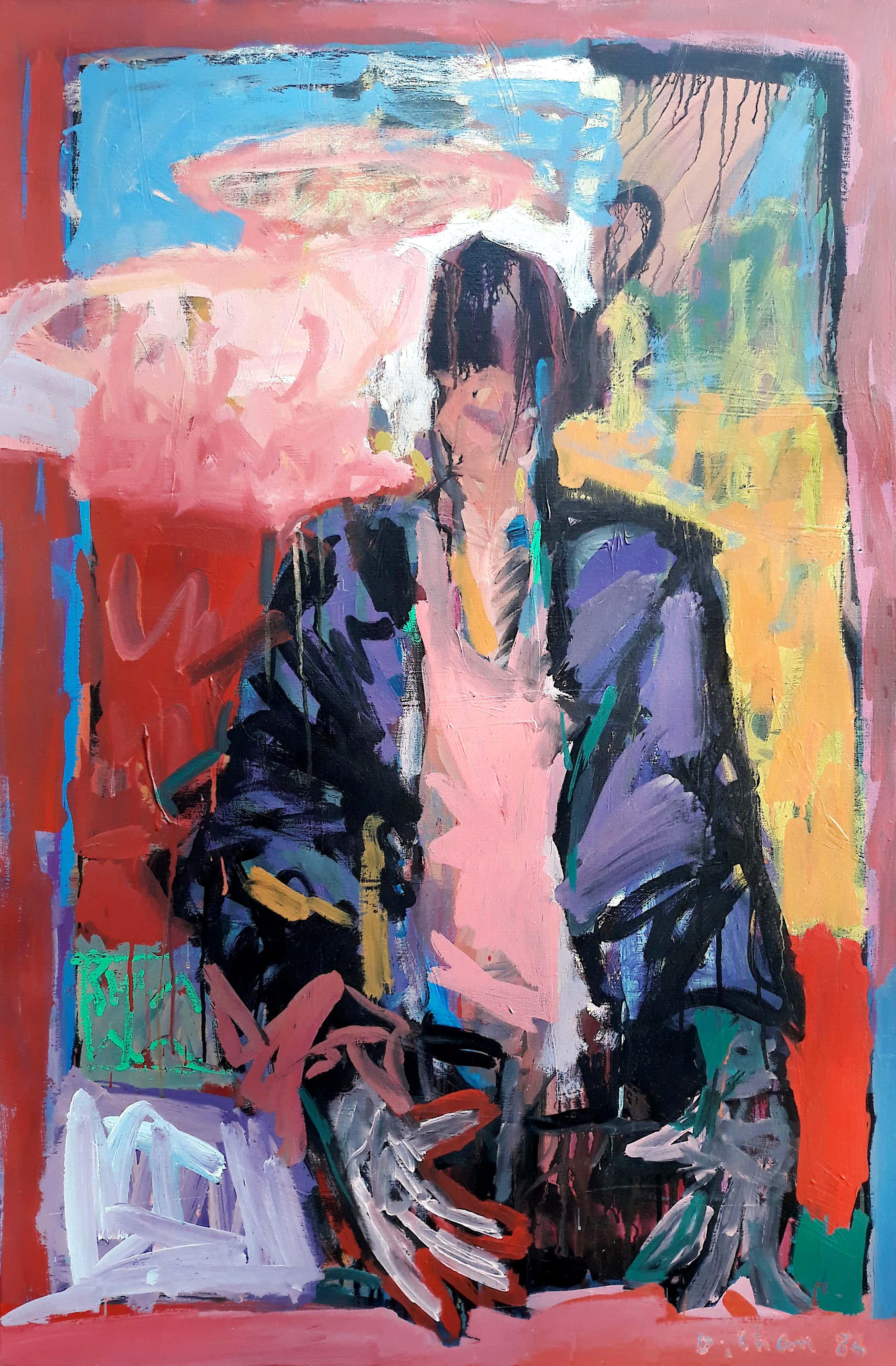 Dominique Chan - Figuur in kleurrijk landschap, olieverf op doek (netjes ingelijst, groot) kopen? Bied vanaf 300!