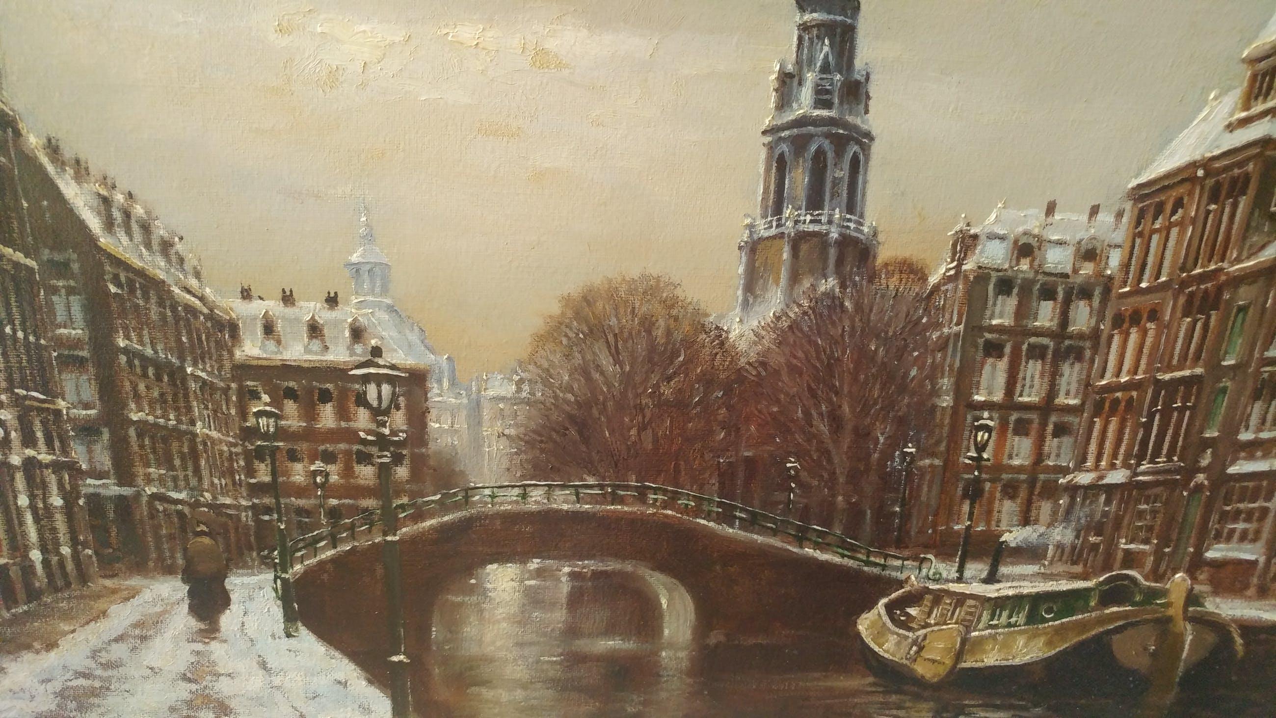 Franciscus Leonardus Corsius - Amsterdamse gracht en de Zuiderkerk kopen? Bied vanaf 450!