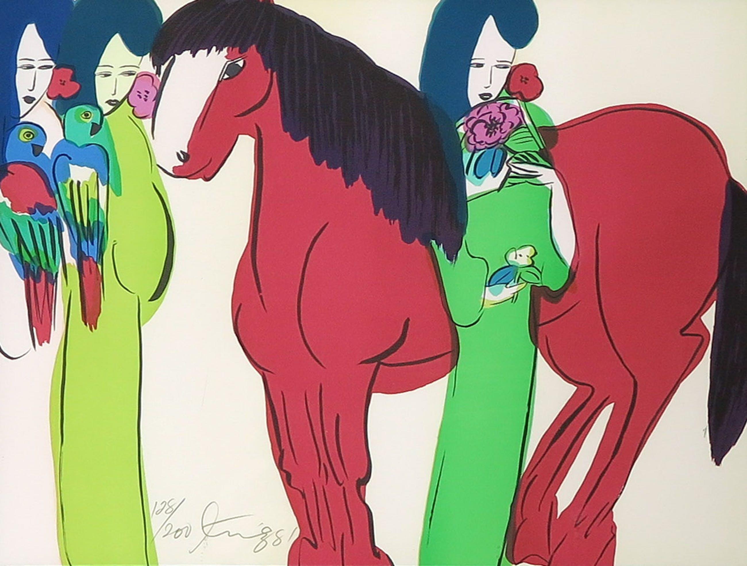 Walasse Ting - Zeefdruk, Geisha's met paard - Ingelijst kopen? Bied vanaf 350!