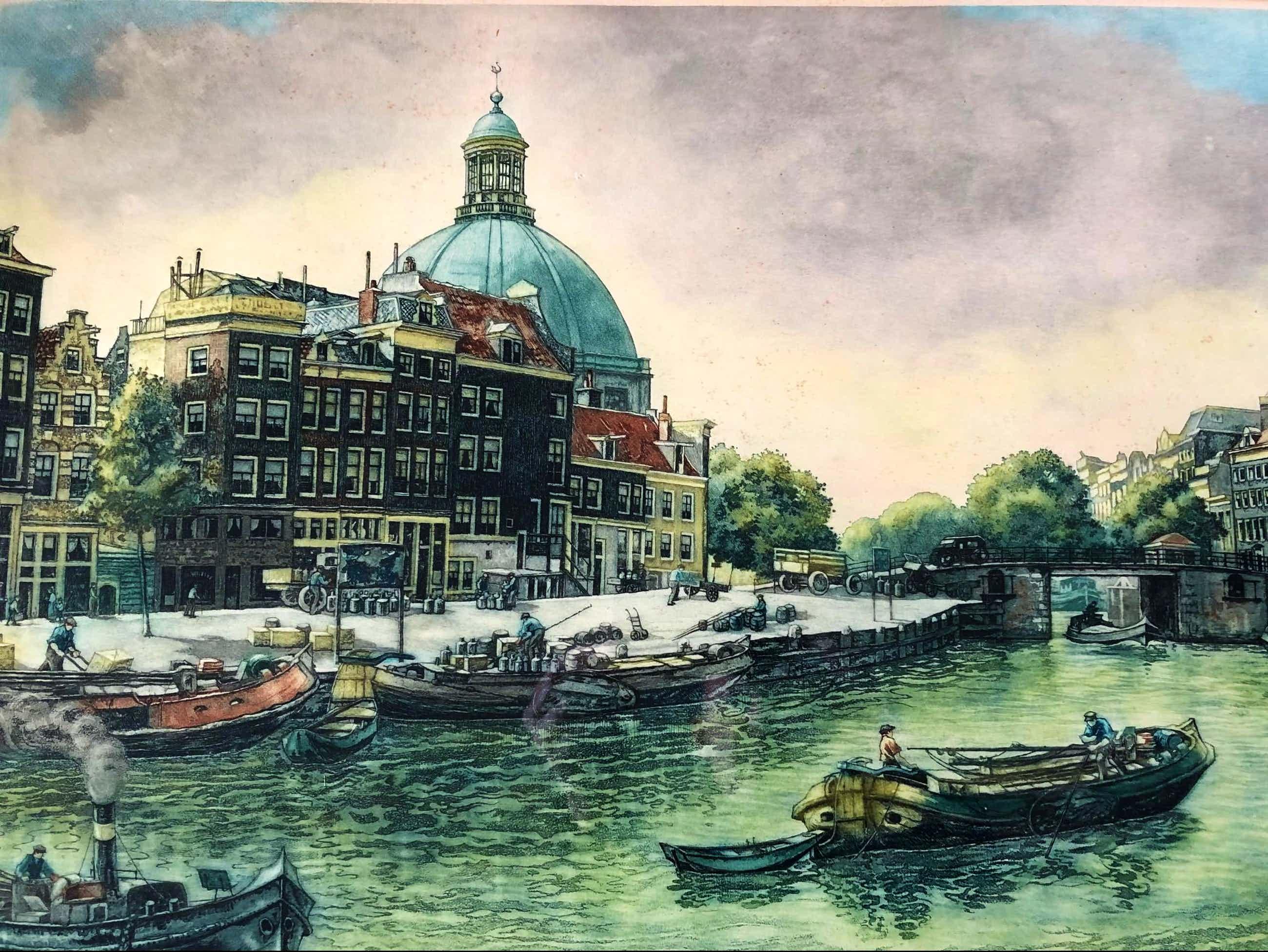 Cornelis Brandenburg - Prins Hendrikkade nabij de Haarlemmerstraat met zicht op de Sonesta-koepel kopen? Bied vanaf 160!