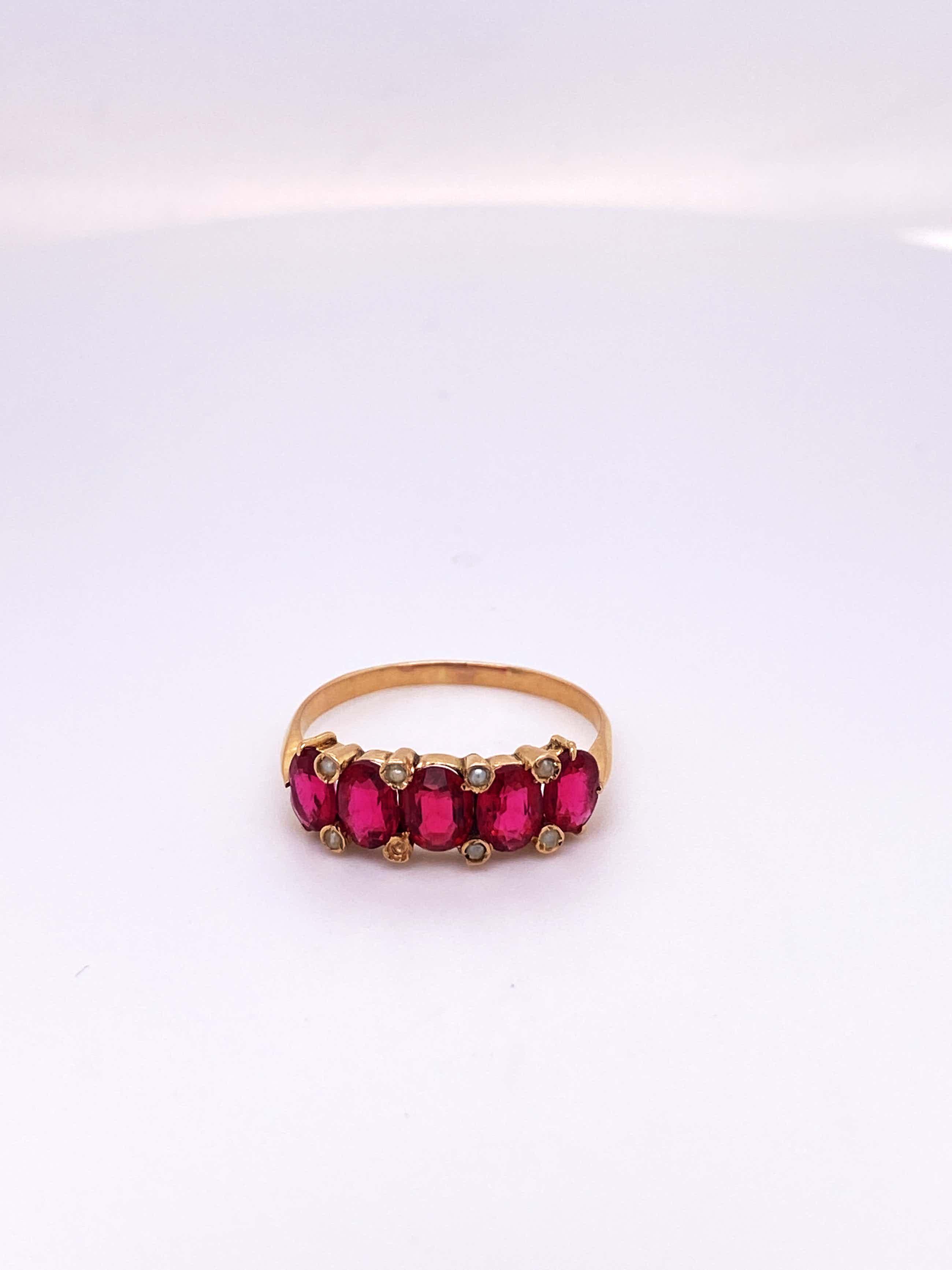 18kt gouden ring met parel en rode kleursteen, maat 55/17,5, 1,98gr kopen? Bied vanaf 250!
