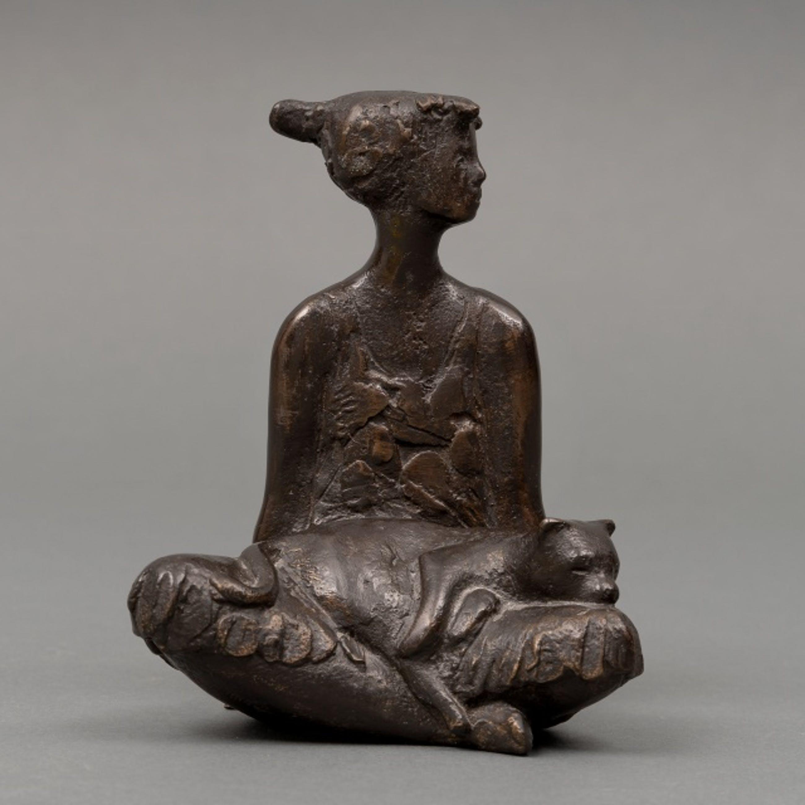 Evert den Hartog - brons: zittend meisje met kat kopen? Bied vanaf 895!