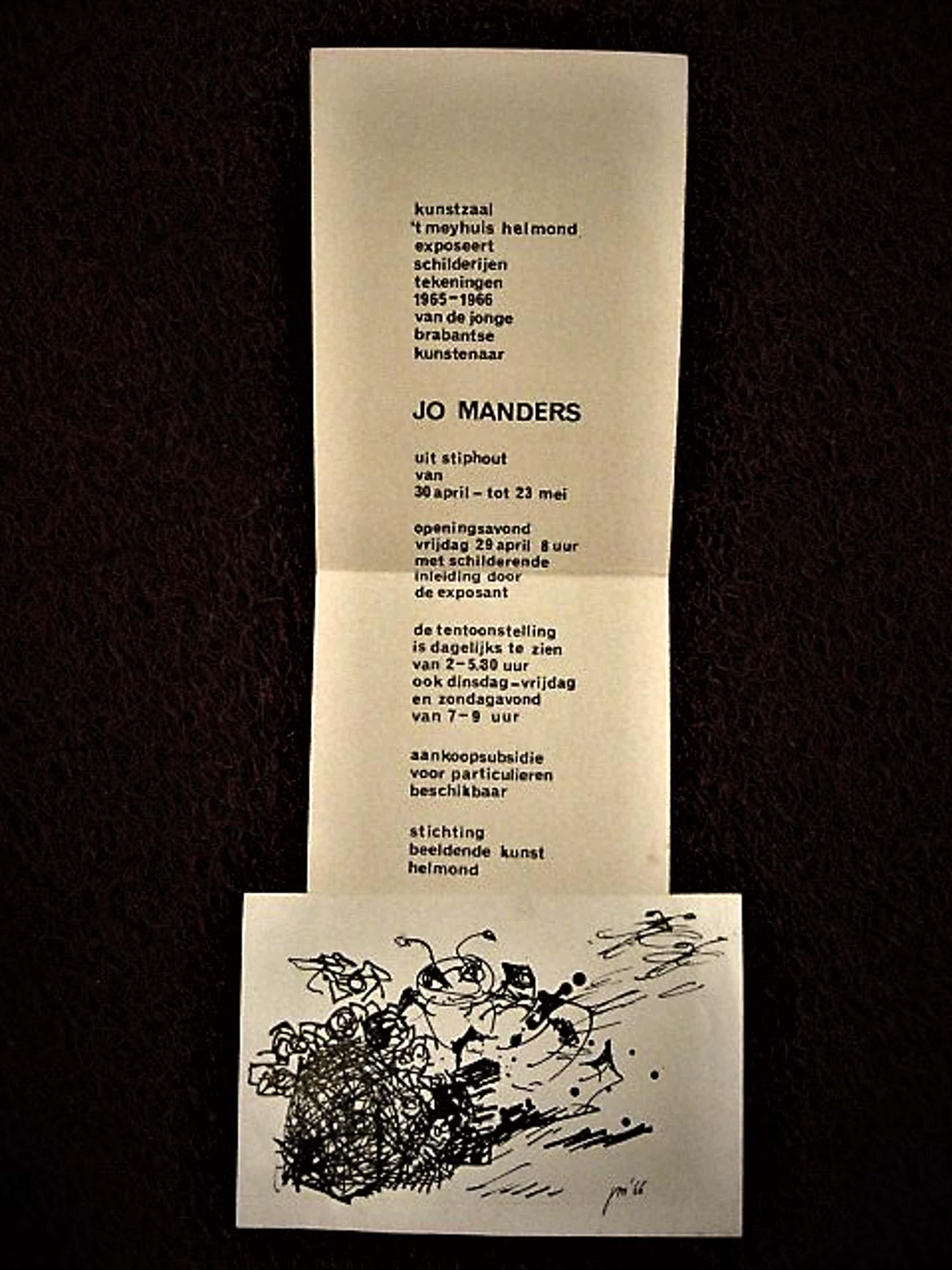 """Jo Manders - gesigneerde Inkttekening """"Mier&Hoop"""" en uitnodiging 't Meyhuis Helmond 1966 kopen? Bied vanaf 30!"""