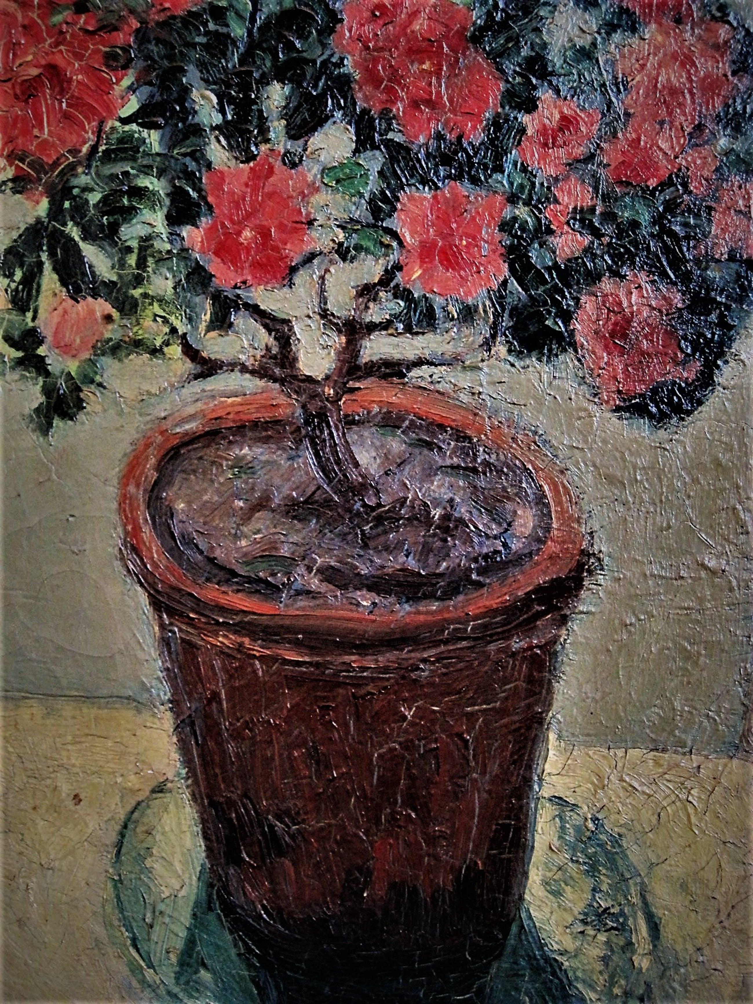 Niet of onleesbaar gesigneerd - GROOT omstreeks 1930 geschilderd stilleven van Rode potplant kopen? Bied vanaf 10!