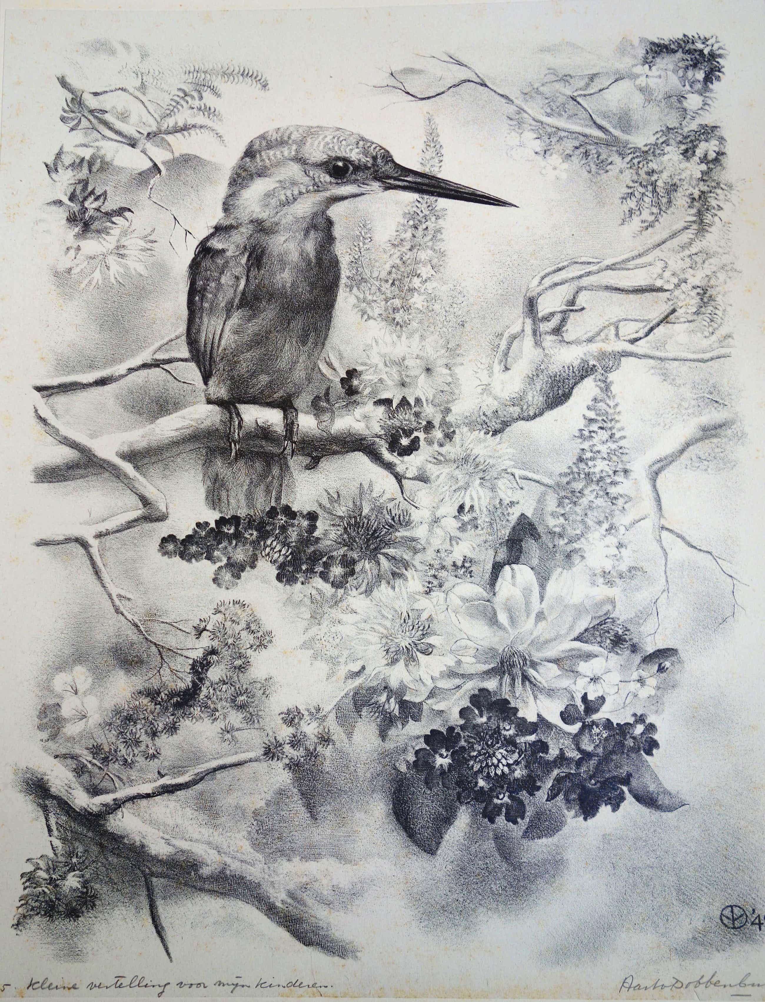 Aart van Dobbenburgh - Litho van IJsvogel op tak met bloemen kopen? Bied vanaf 80!