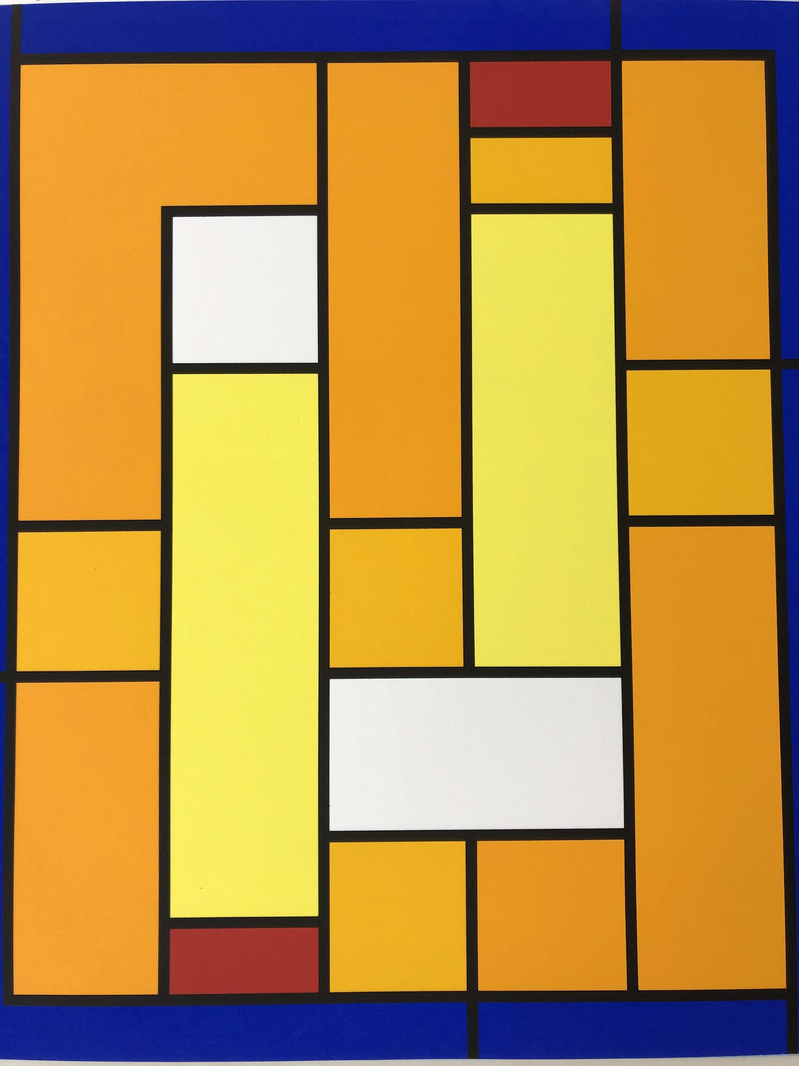 Siep van den Berg - compositie met geel, blauw, wit en rood kopen? Bied vanaf 195!
