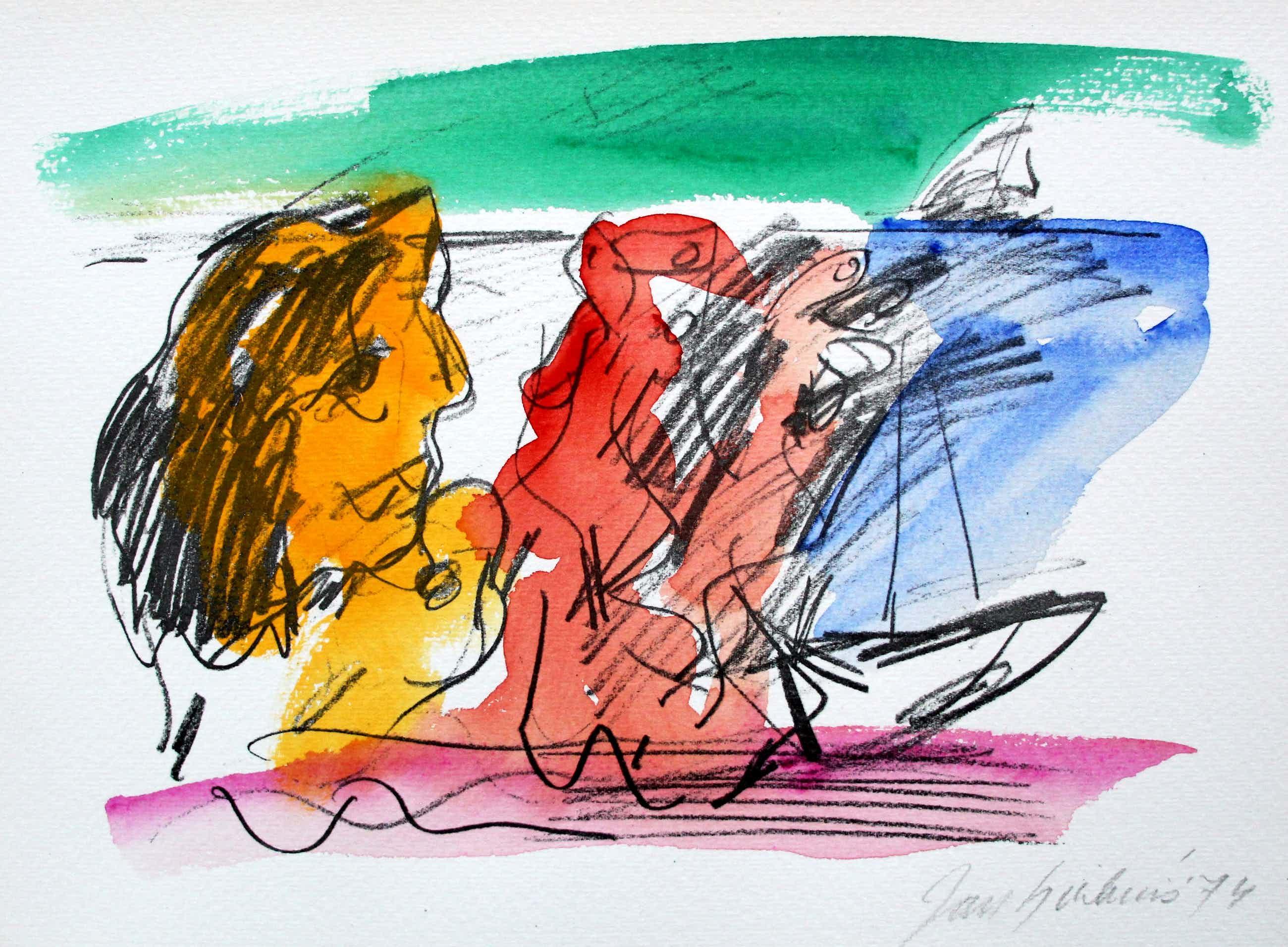 Jan Sierhuis - Met de hand ingekleurde litho (aquarel) - 1974 kopen? Bied vanaf 60!