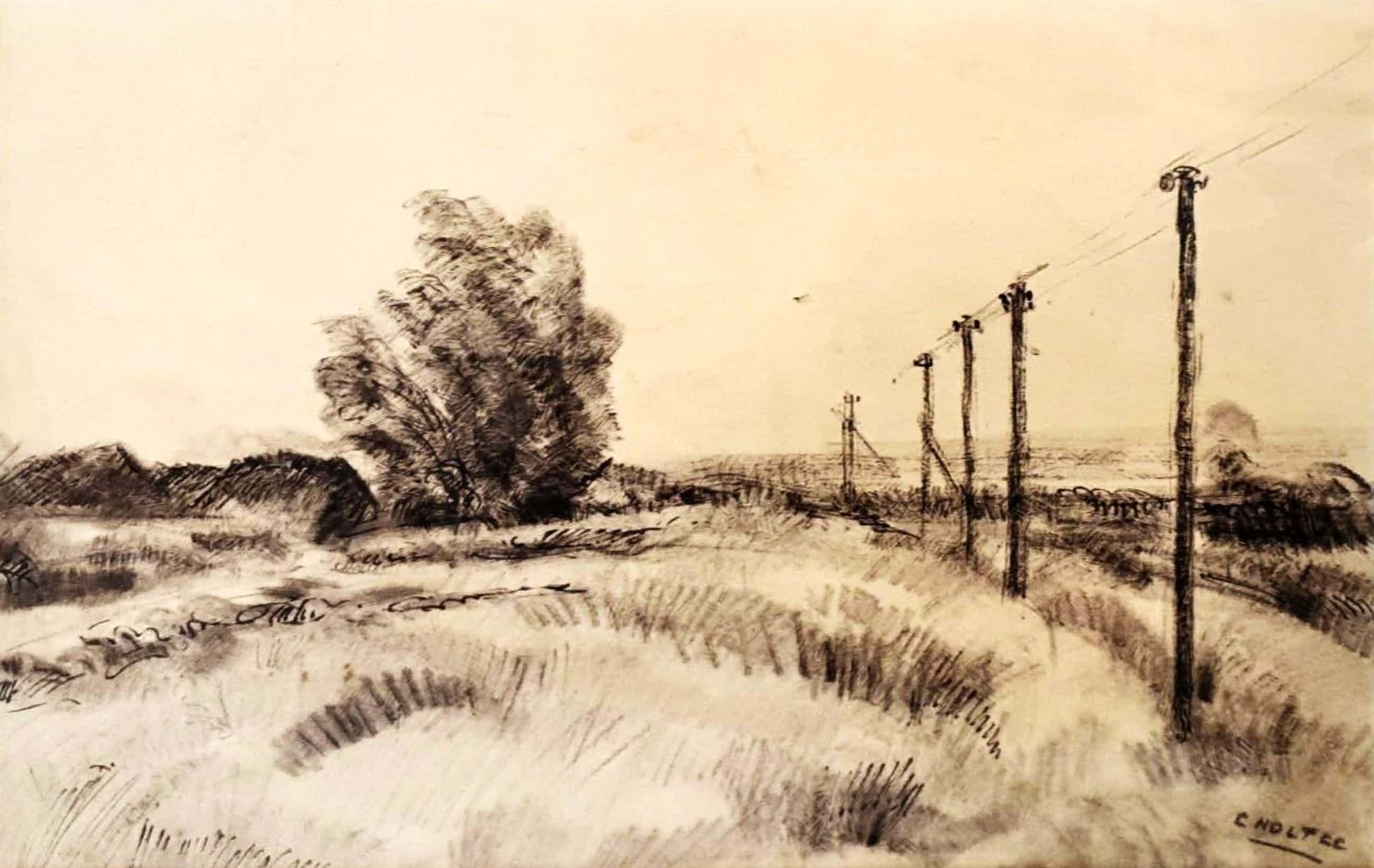 Cor Noltee - A2141-11, Landschap met elektriciteitspalen kopen? Bied vanaf 200!