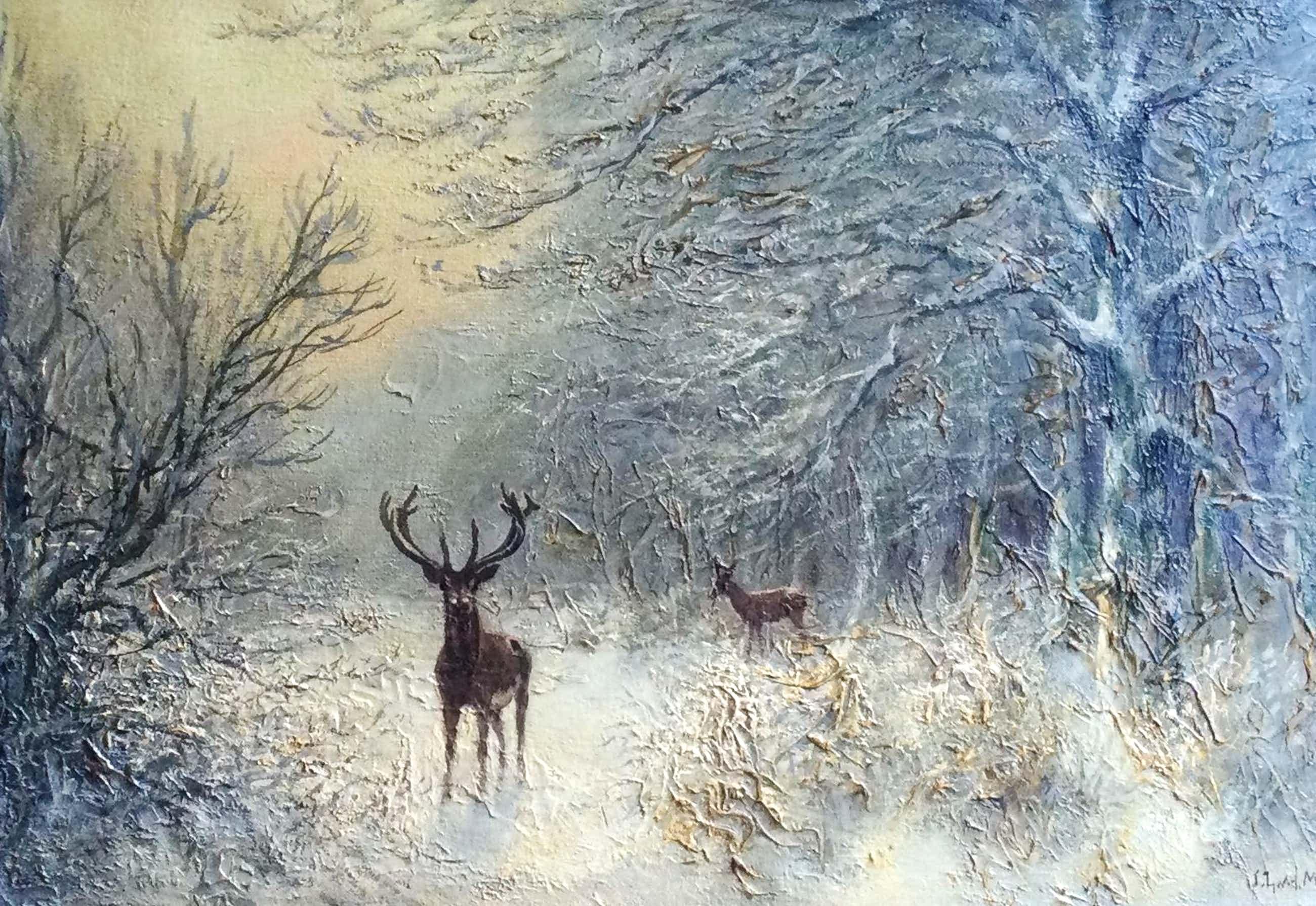 Jacobus Leonardus van der Meide - C5053-2, Winterbos met herten in de sneeuw kopen? Bied vanaf 275!