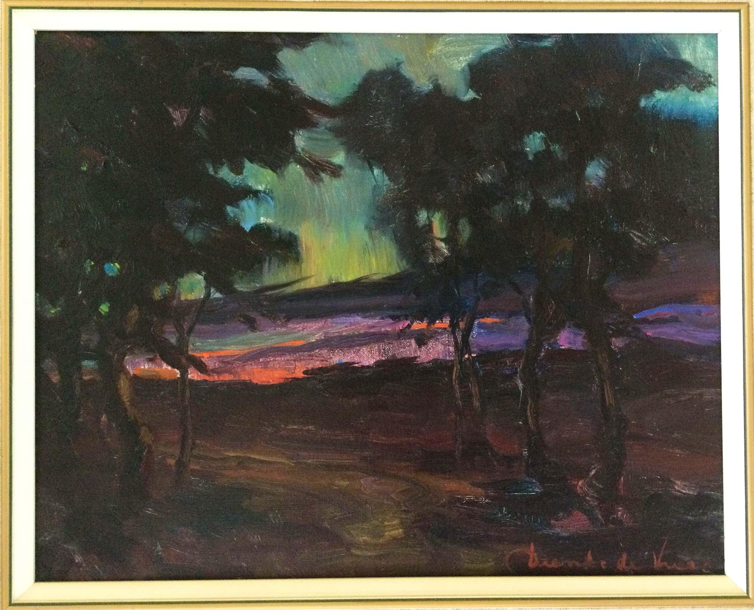 Dienke de Vries-Rohde - Avondschemering | Olieverfschilderij kopen? Bied vanaf 75!