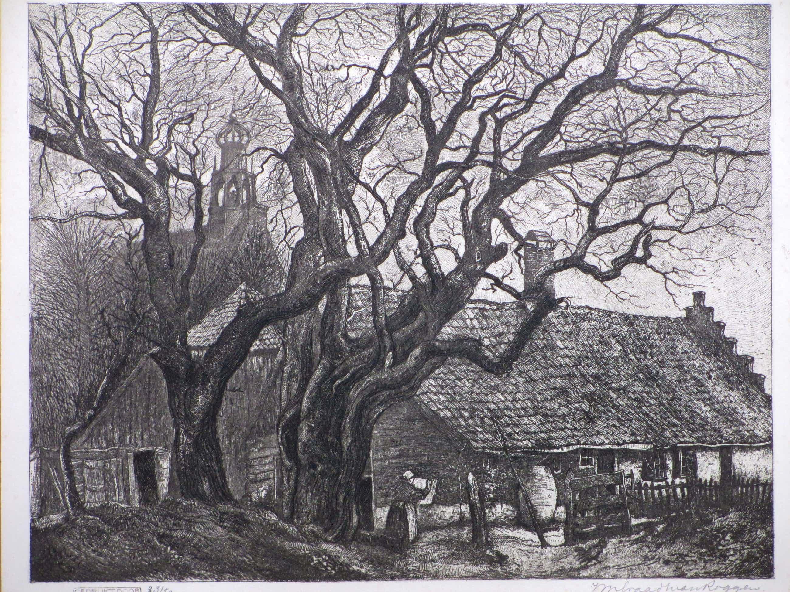 Johannes Graadt van Roggen - Achter de kerk te Bergen - Ets kopen? Bied vanaf 120!