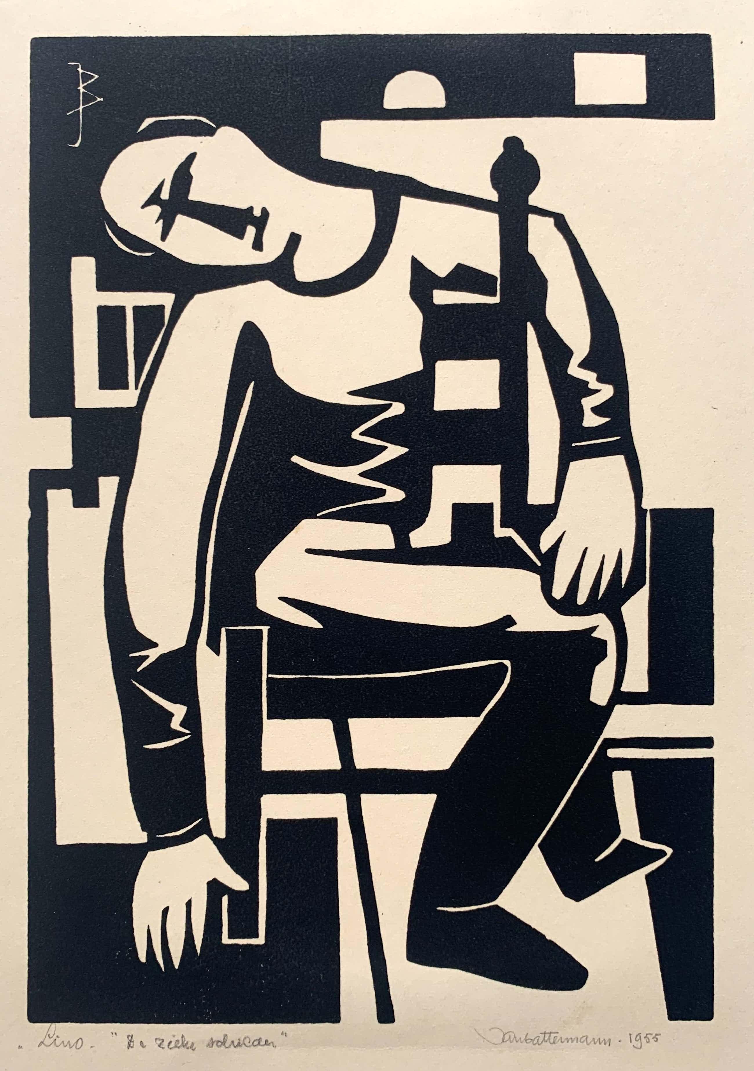 Jan Battermann - linosnede   'De zieke schilder'   1955 kopen? Bied vanaf 50!