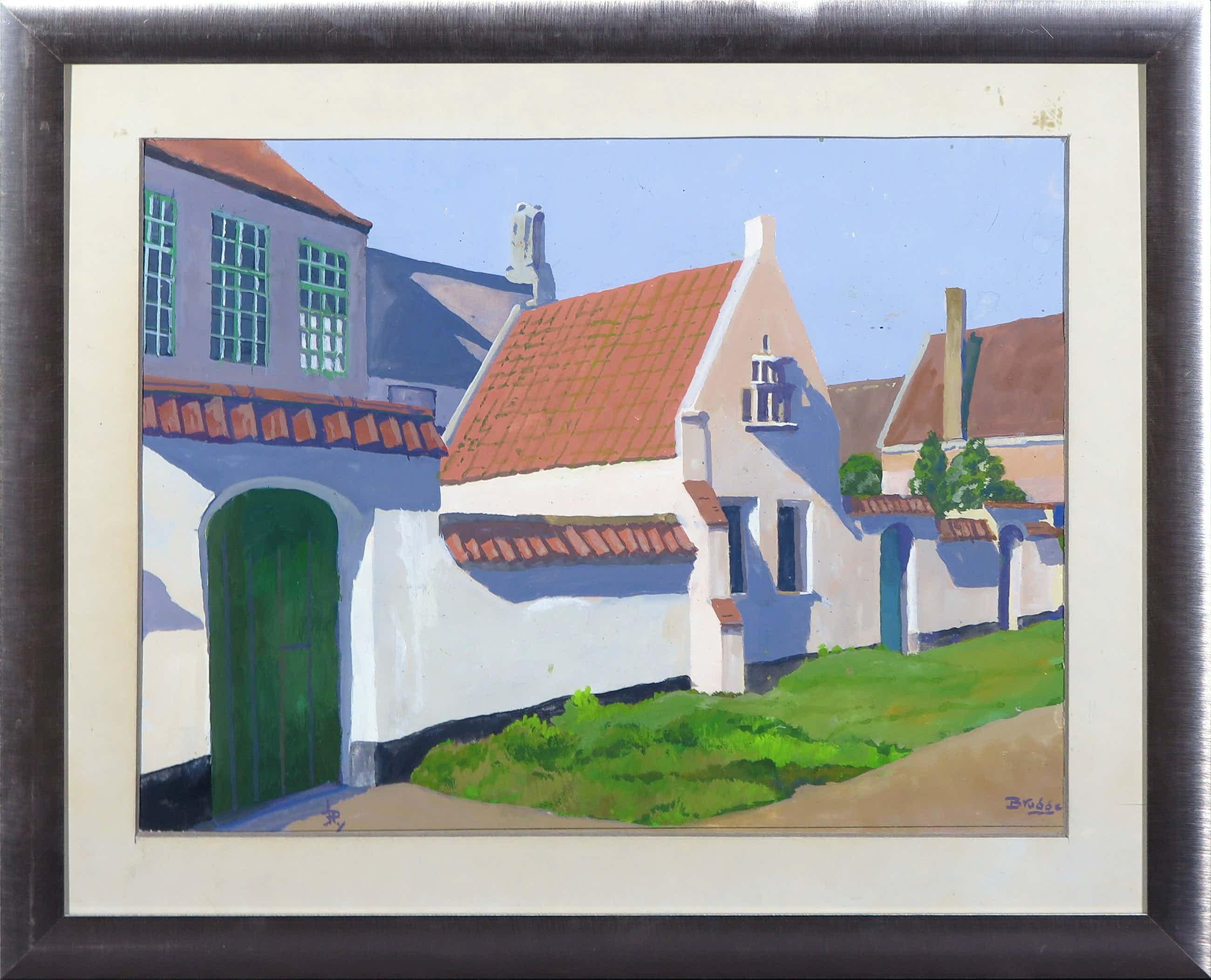 Johannes Herbert Plokker - Gouache op papier, Brugge- Ingelijst kopen? Bied vanaf 41!
