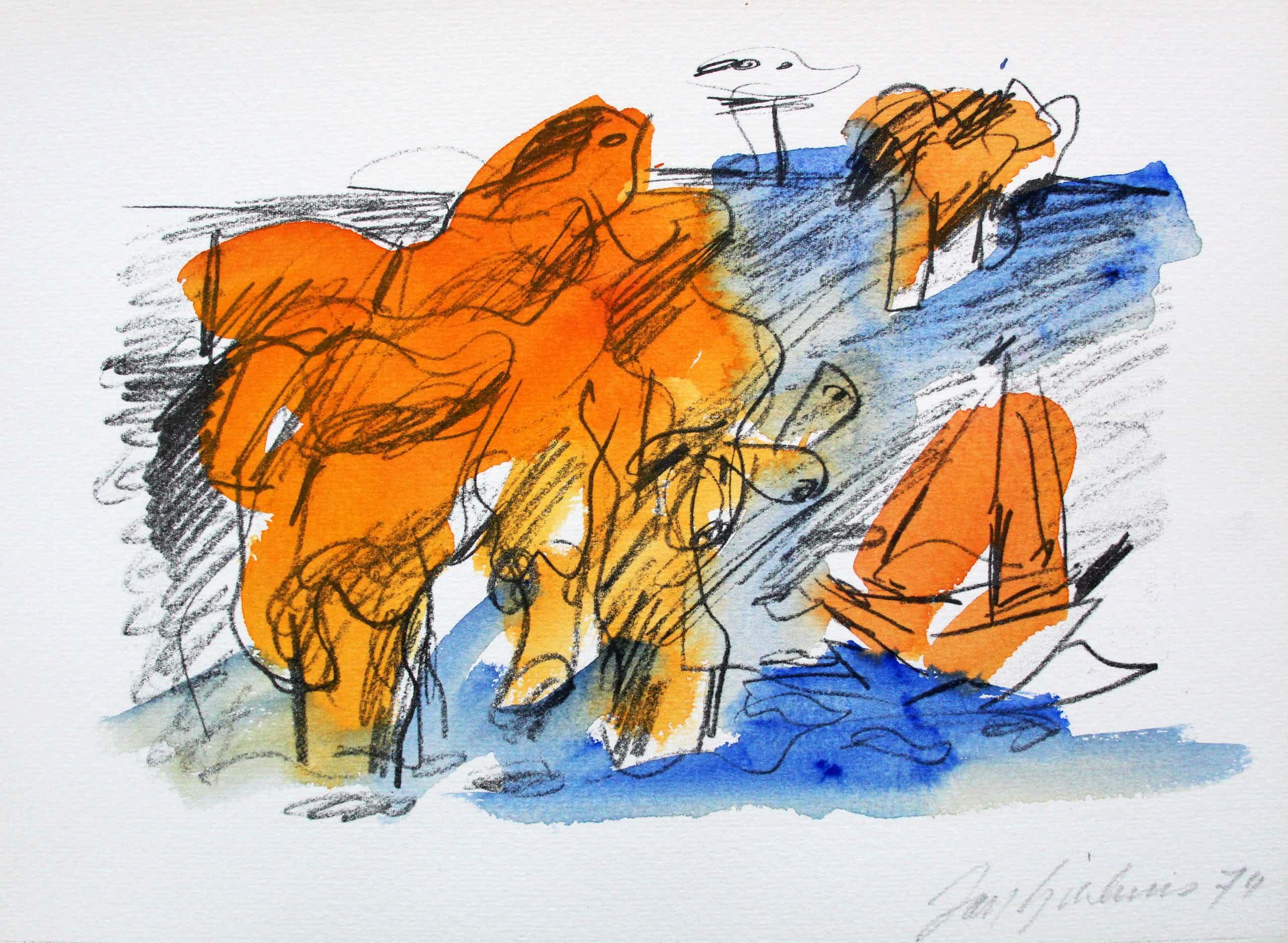 Jan Sierhuis - Met de hand ingekleurde litho (aquarel) - 1974 kopen? Bied vanaf 95!