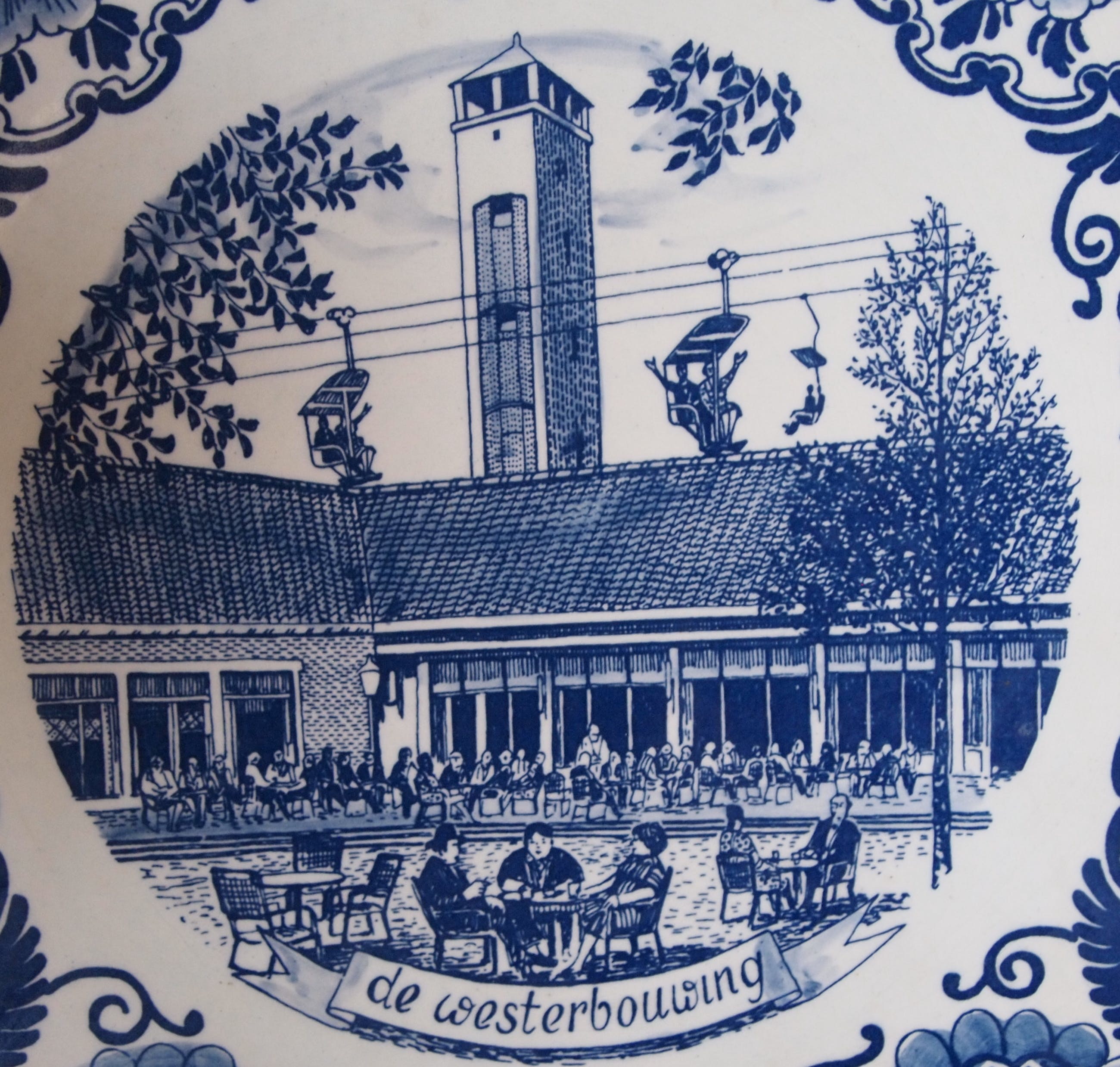 """Niet of onleesbaar gesigneerd - Delftsblauw wandbord """"De Westerbouwing"""" in Oosterbeek kopen? Bied vanaf 10!"""
