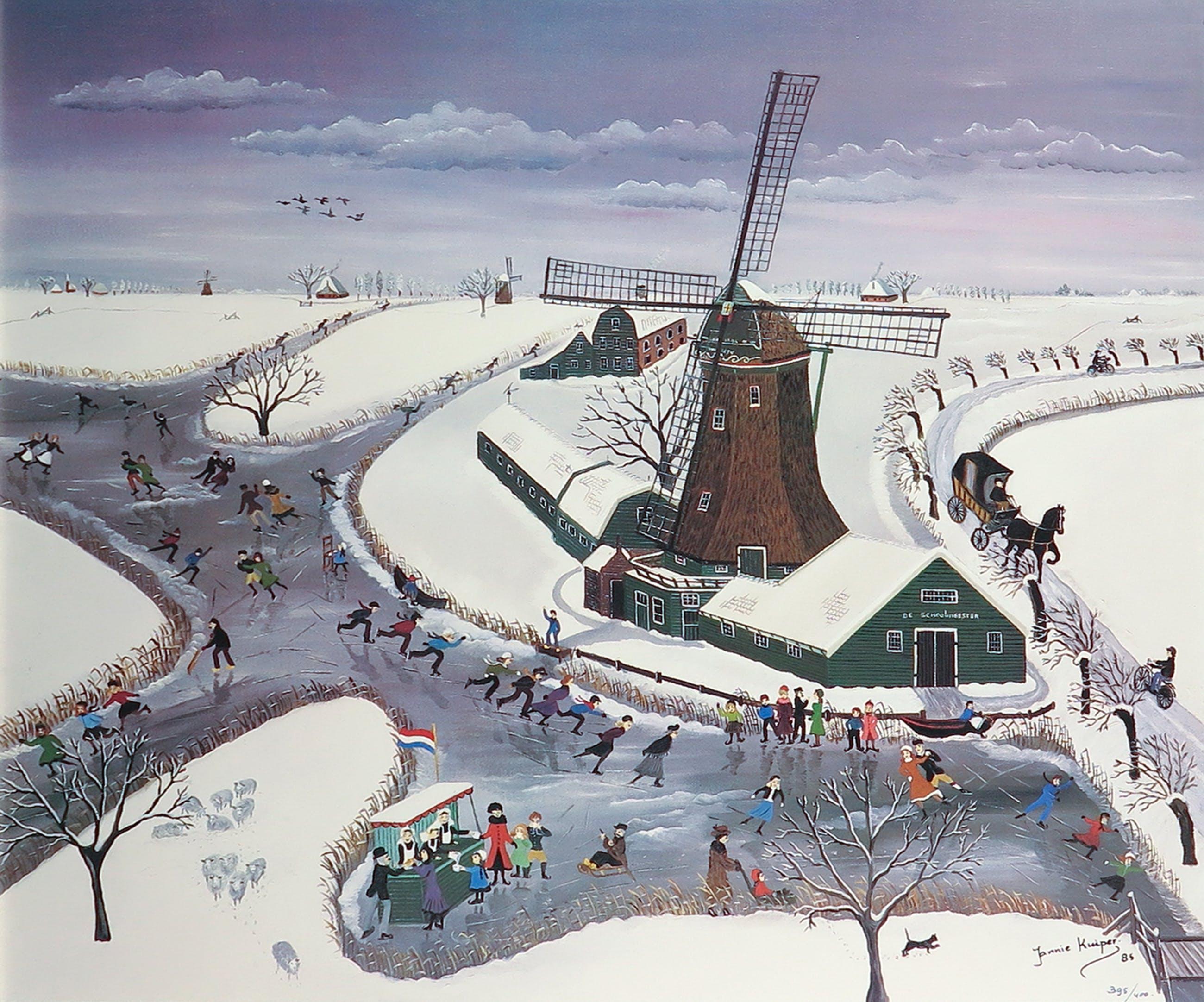 Jannie Kuiper - Artprint, Papiermolen 'De Schoolmeester' - Ingelijst kopen? Bied vanaf 50!