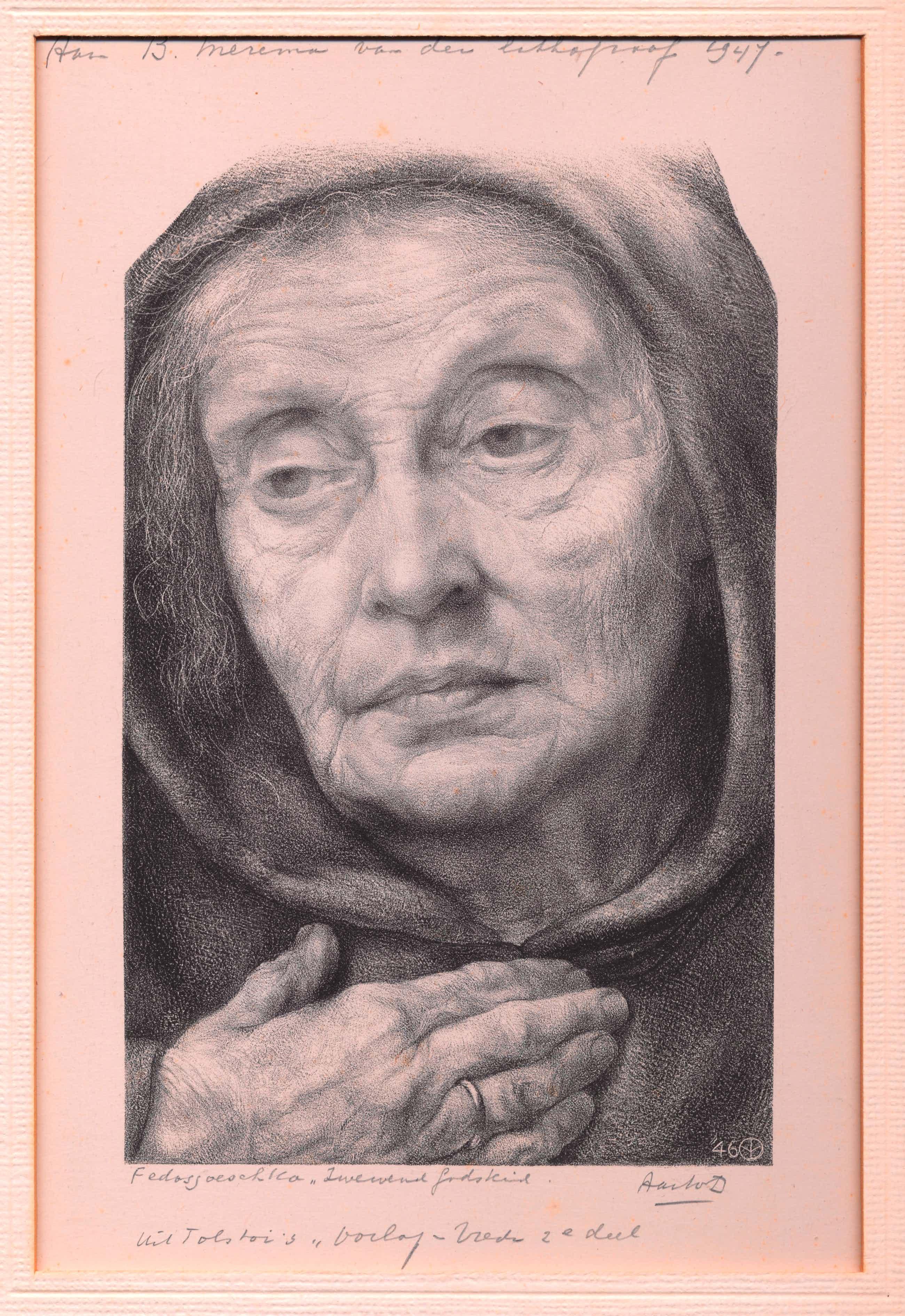 """Aart van Dobbenburgh - Lithografie `""""Zweven Godskind"""" bij Tolstoi's Oorlog en Vrede deel II kopen? Bied vanaf 35!"""