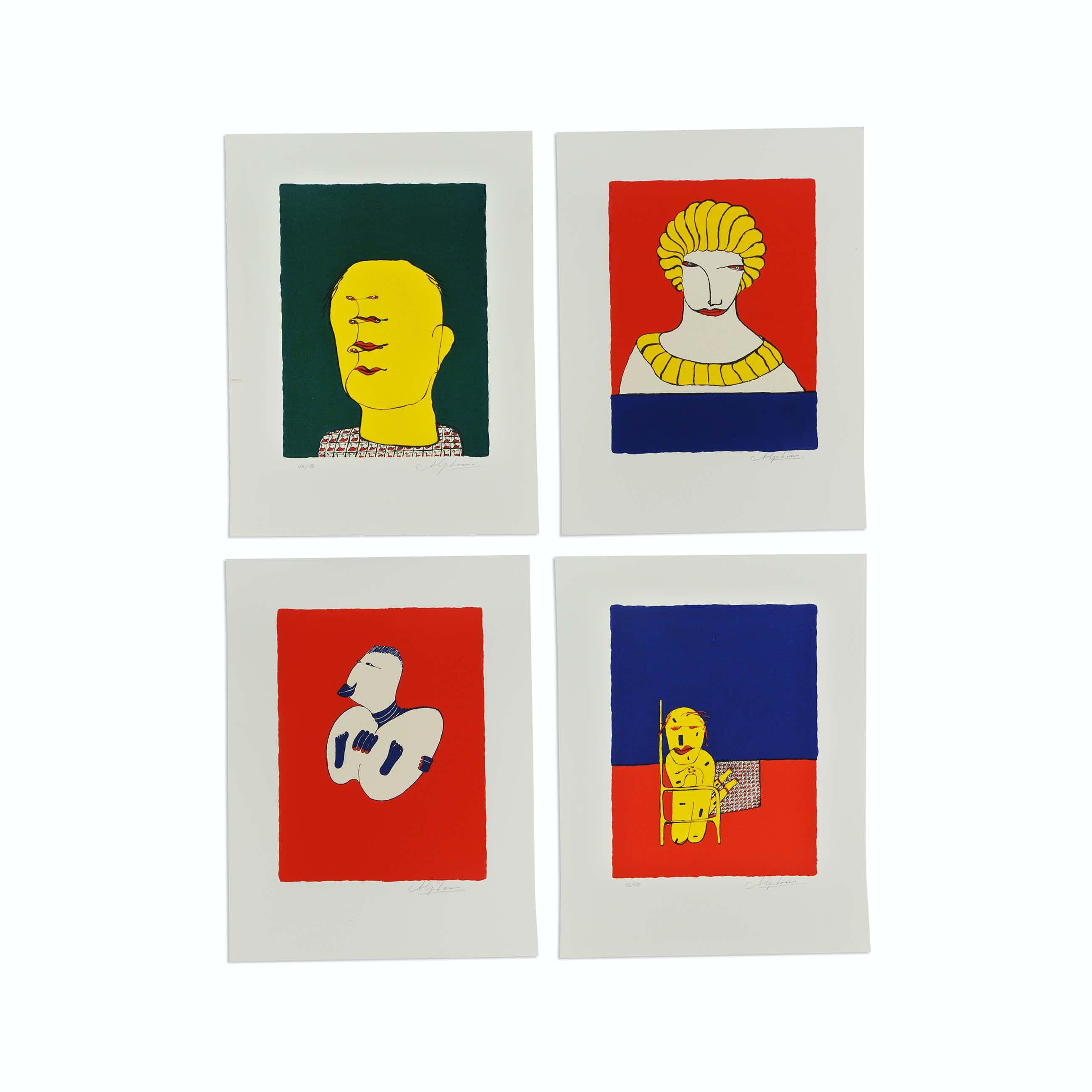 Alphons van Leeuwen - Serie van 4 zeefdrukken: Portret, Dame, Eitje, Avondgebed kopen? Bied vanaf 100!