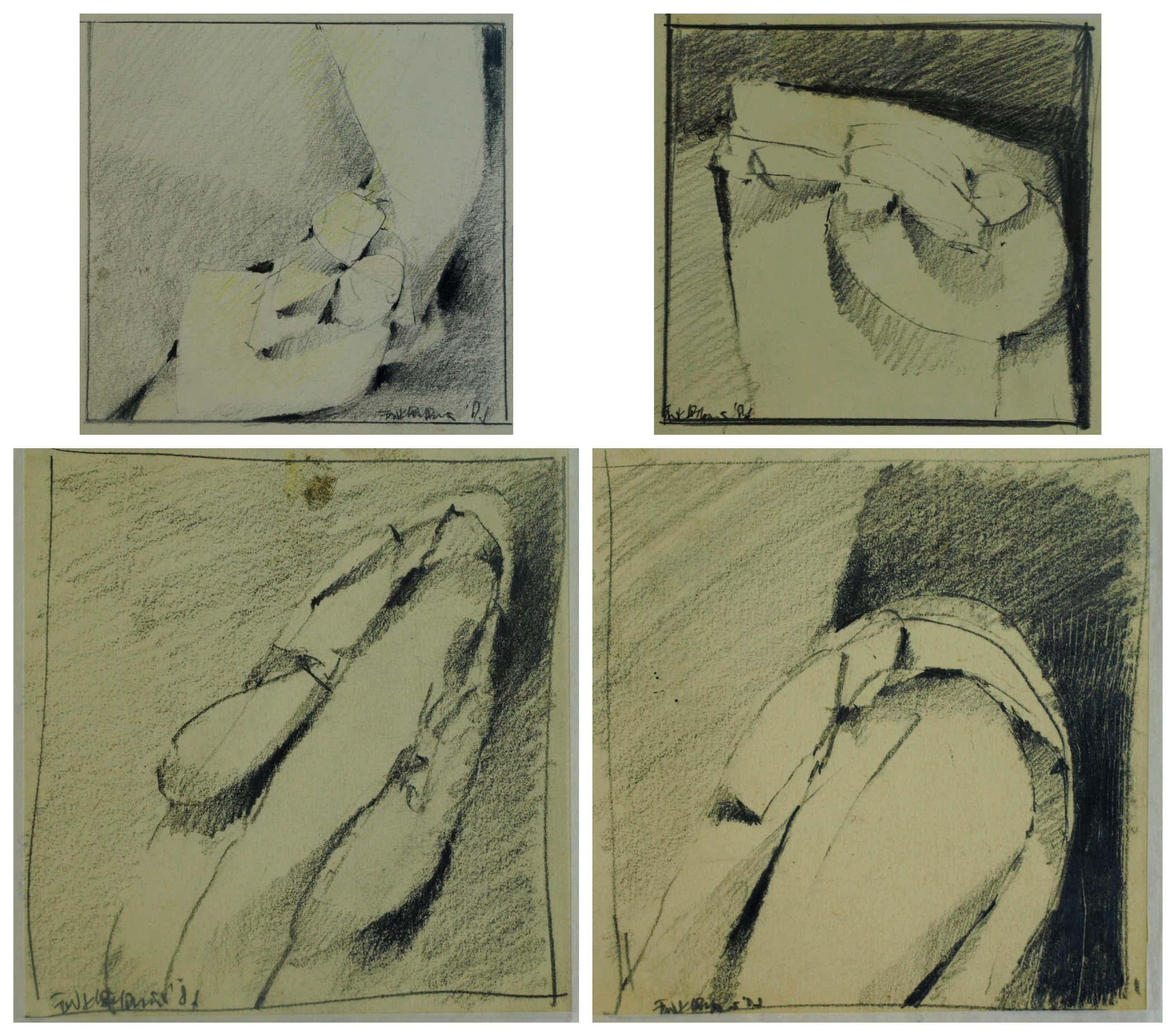 Fon Klement - 4 Tekeningen , schetsen uit de jaren '80 kopen? Bied vanaf 85!