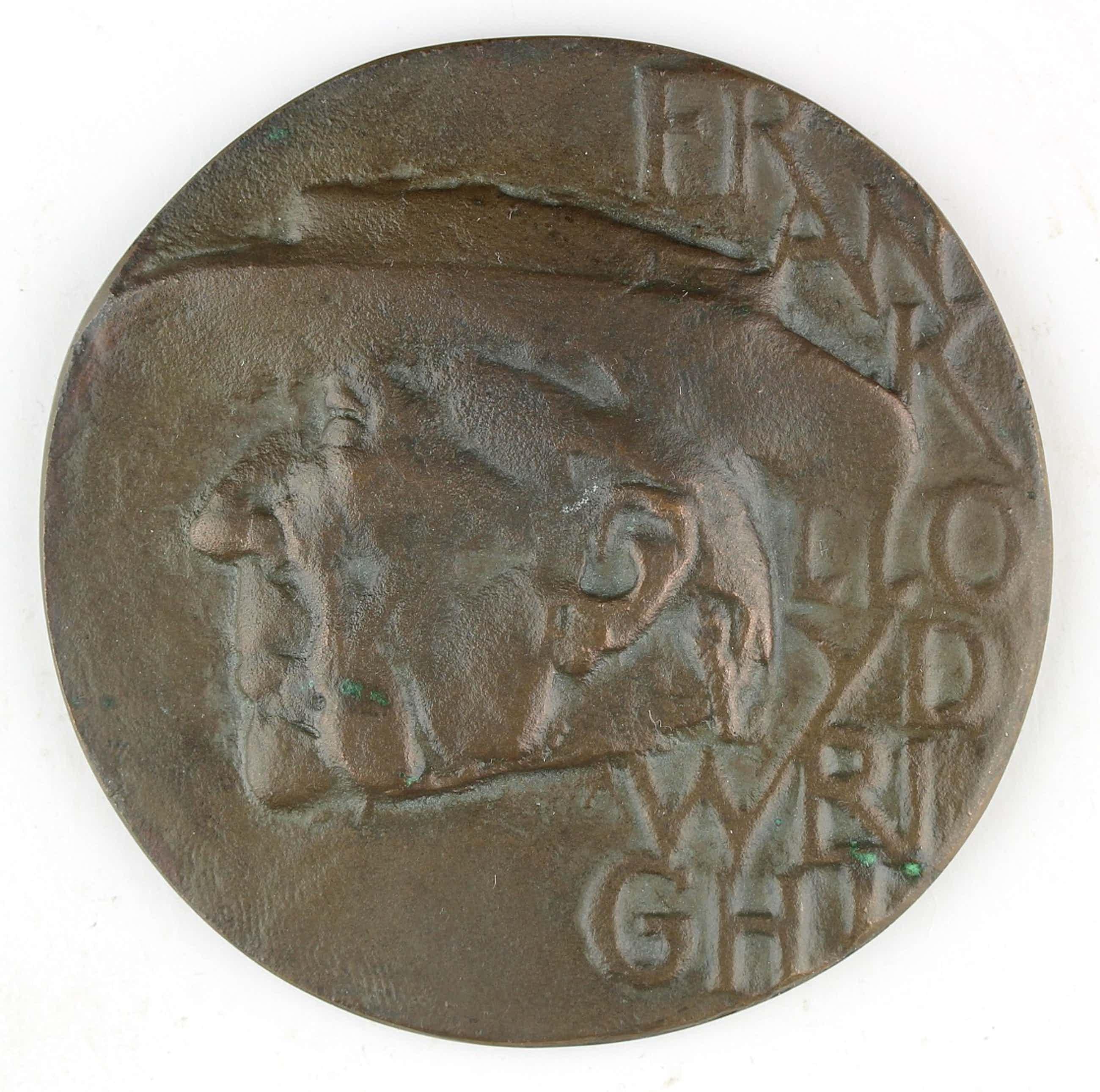 Eric Claus - Bronzen penning: Frank Lloyd Wright, 1963 kopen? Bied vanaf 120!