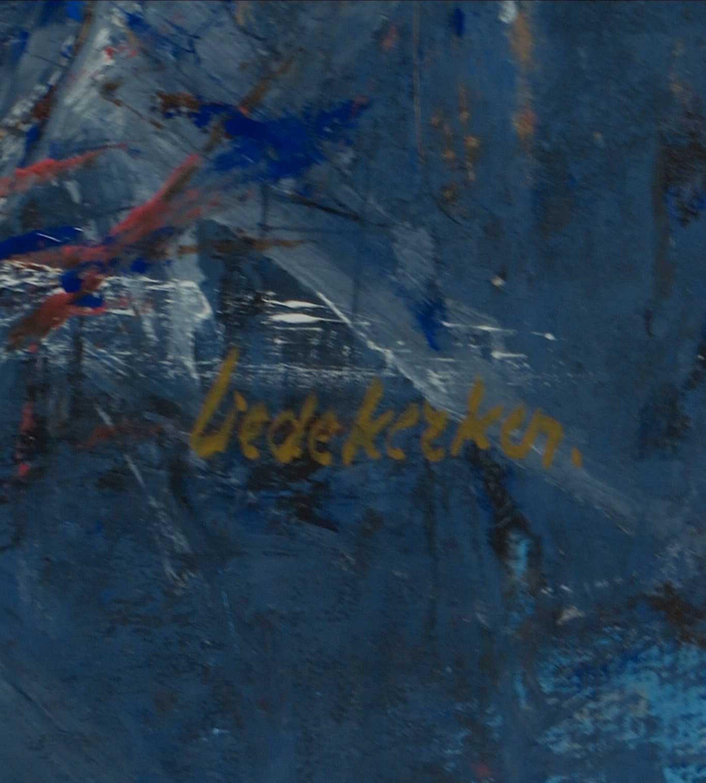 Mia Liedekerken - Olieverf op papier, Abstracte voorstelling in blauw - Ingelijst kopen? Bied vanaf 1!
