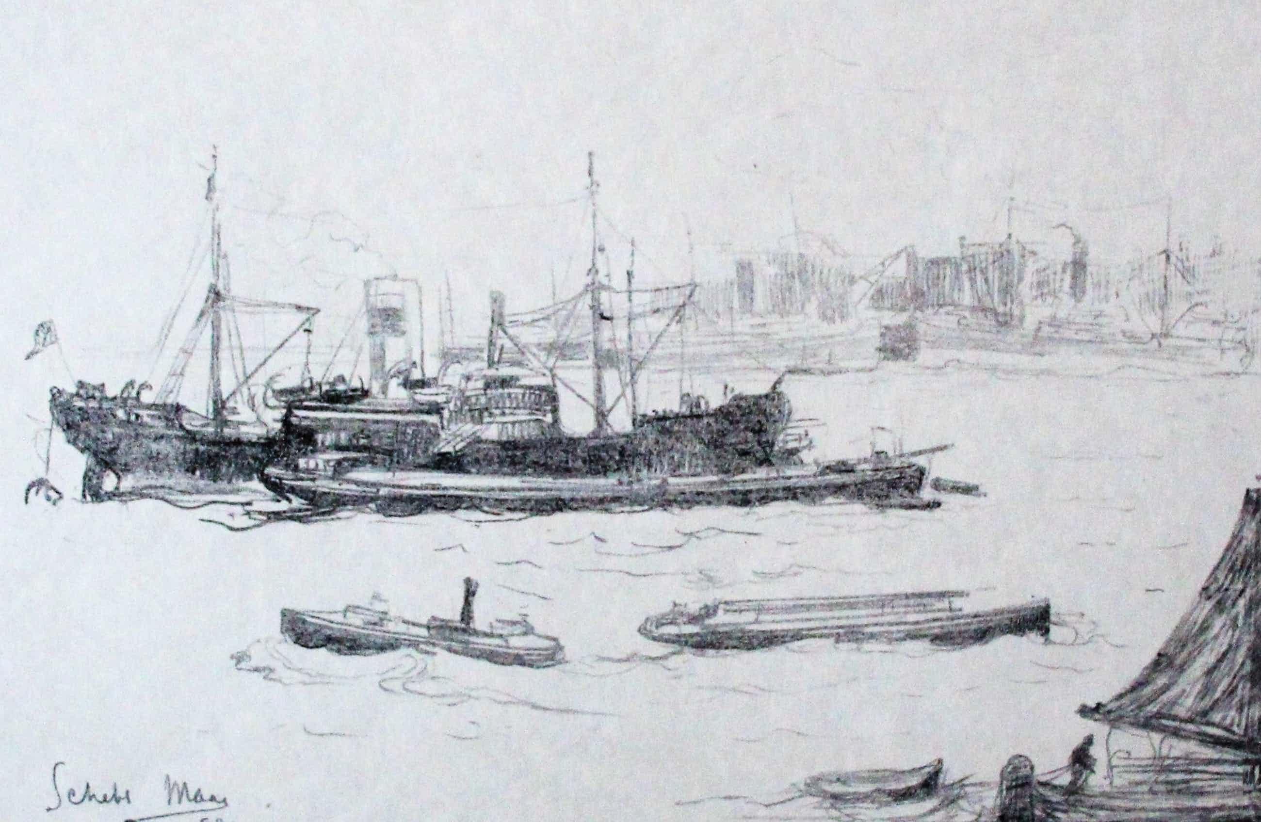 Frederika Broeksmit - Litho: boten op de Nieuwe Maas bij Rotterdam kopen? Bied vanaf 45!