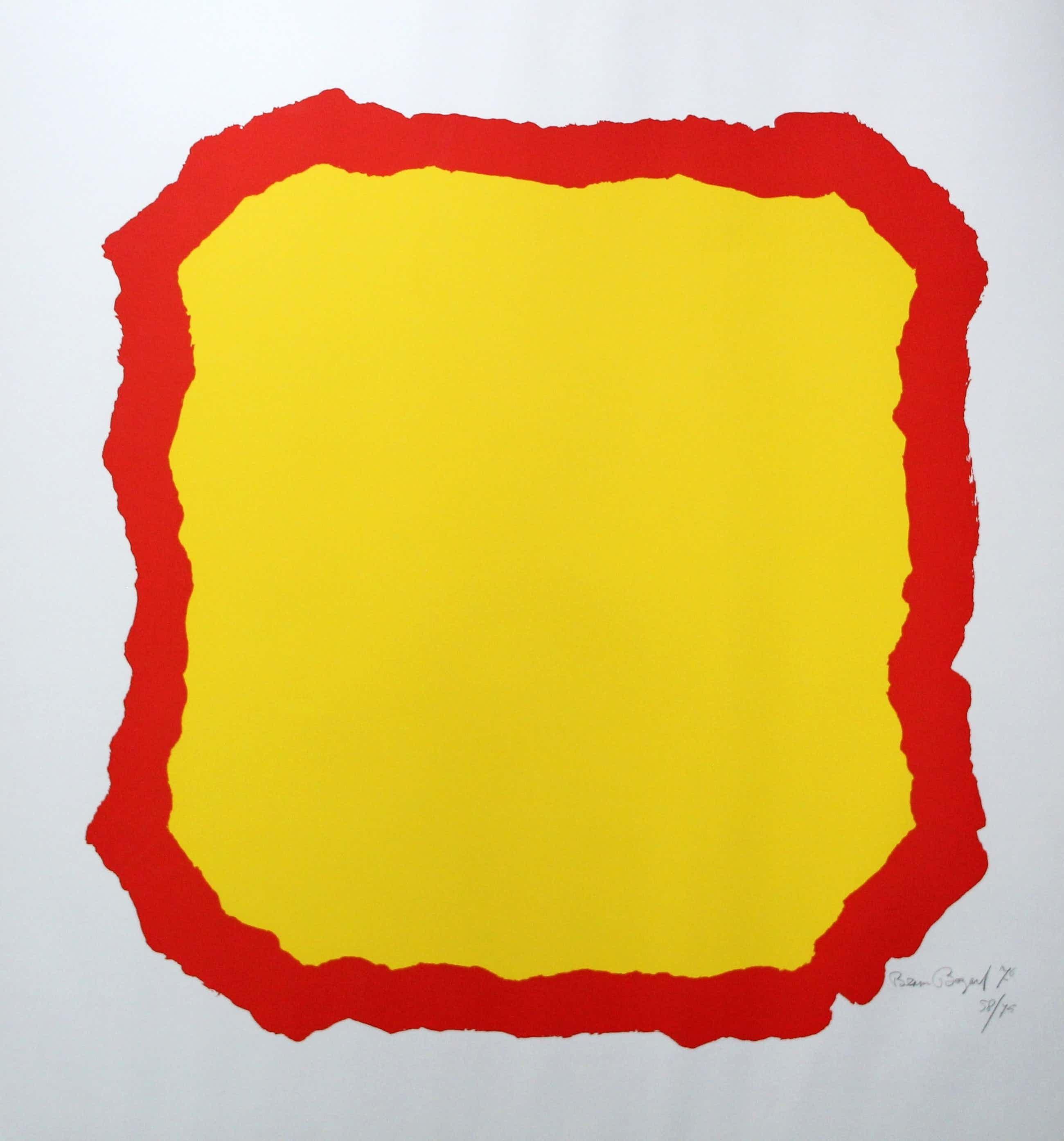 Bram Bogart - zeefdruk: geel vlak met rode rand - 1976 kopen? Bied vanaf 130!