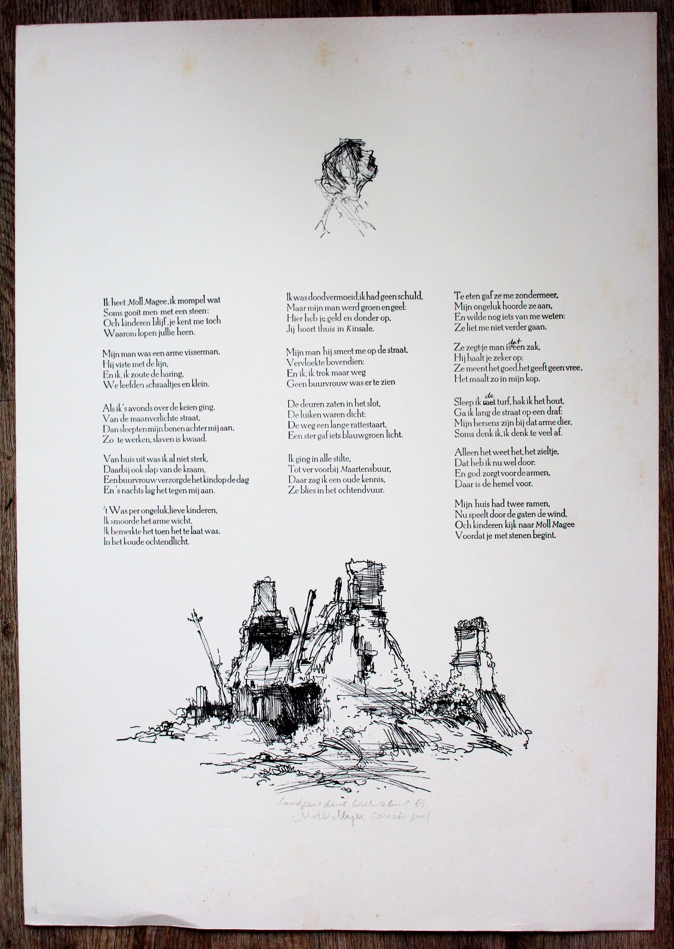 """Dirkje Kuik - Litho met tekst: """"Moll Magee - 1968 kopen? Bied vanaf 65!"""
