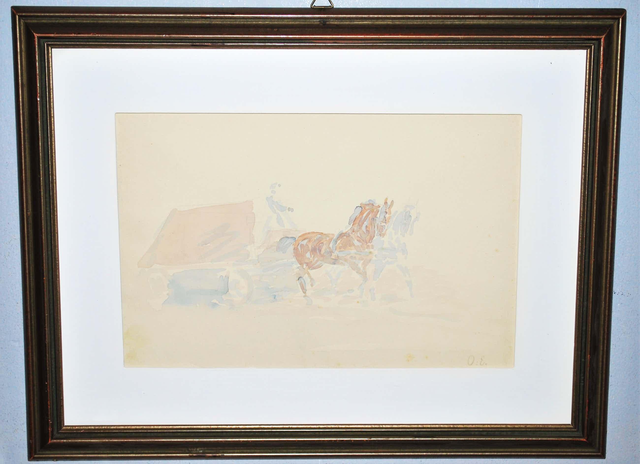 Otto Eerelman - mooi ingelijste aquarel van een wagen met twee paarden kopen? Bied vanaf 325!